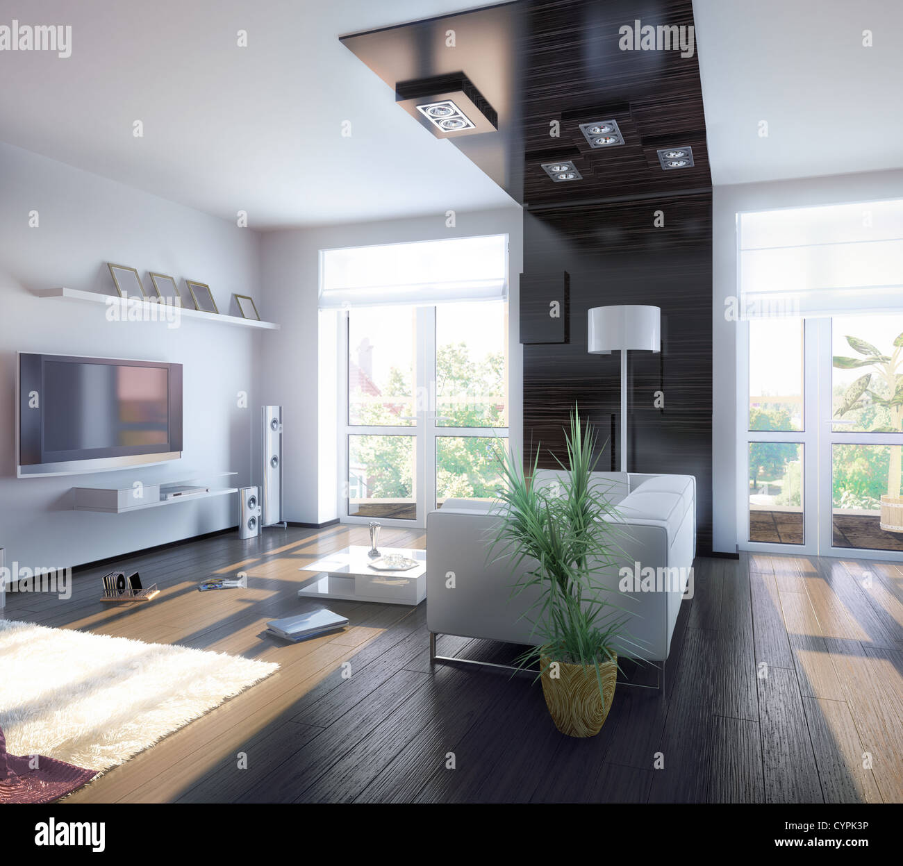 modern living room design (illustration) - Stock Image
