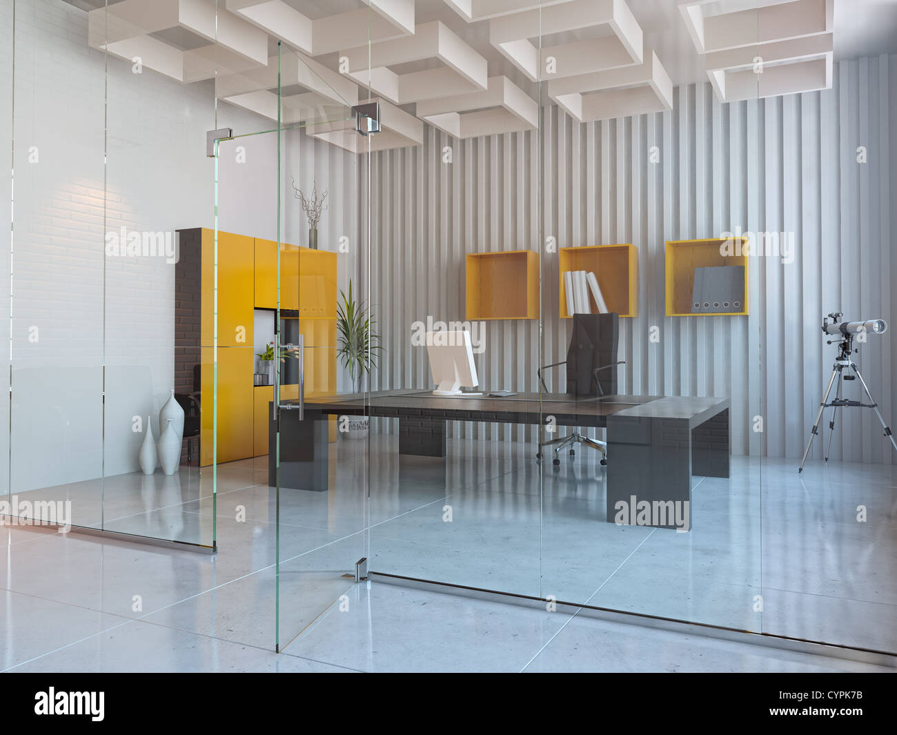 modern interior design of office room 3d render stock photo