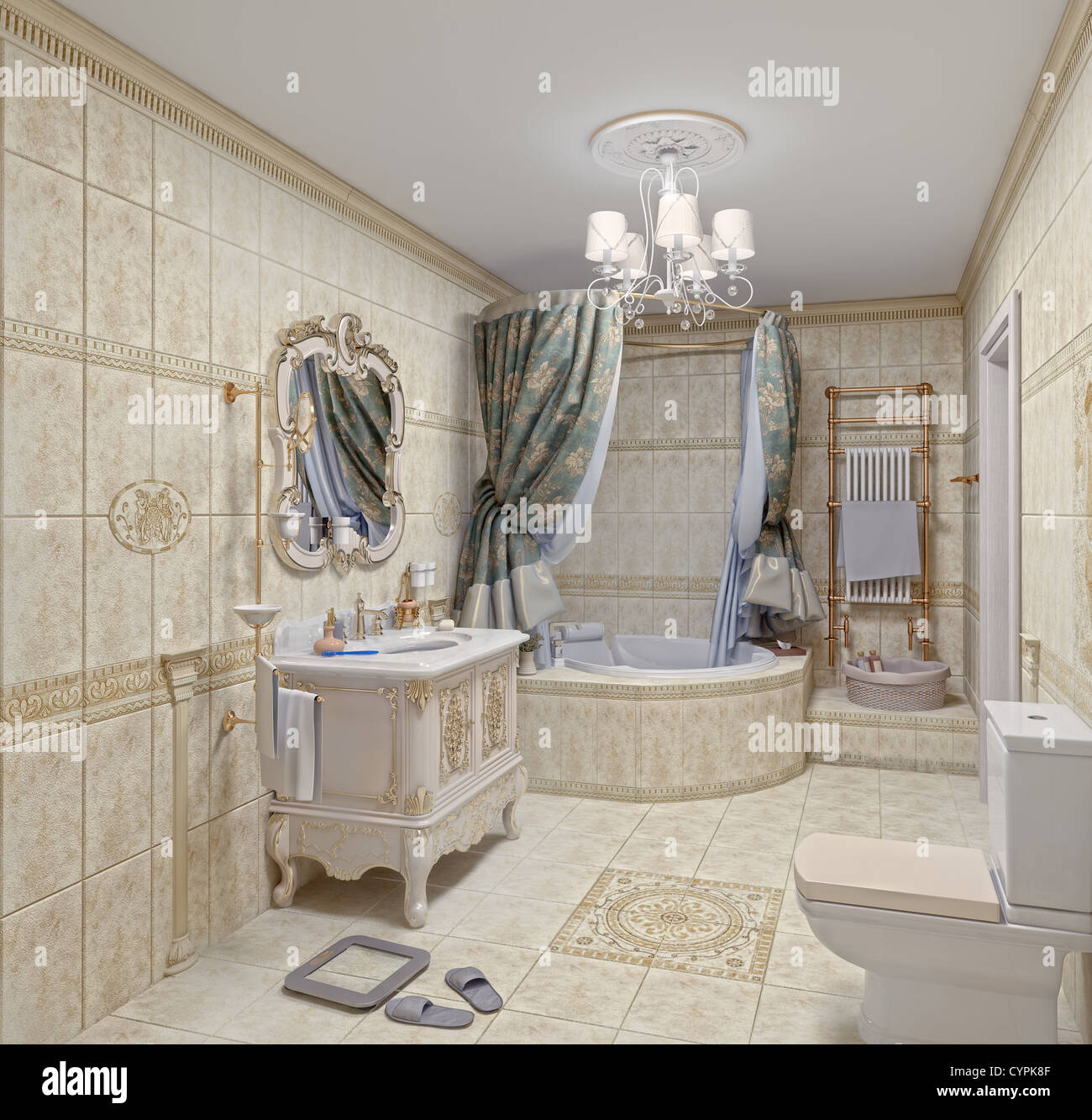 . Modern Bathroom interior with tiles and mirror  3D rendering Stock