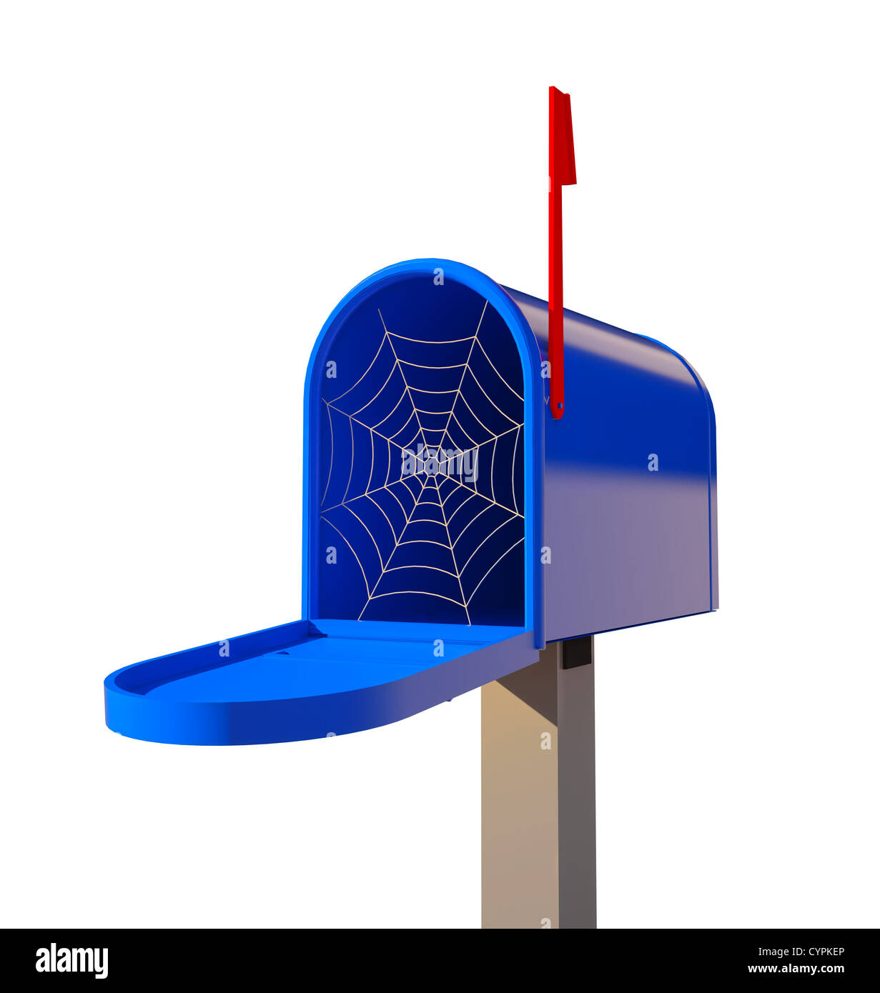 cobwebby mailbox (3D concept illustration) - Stock Image