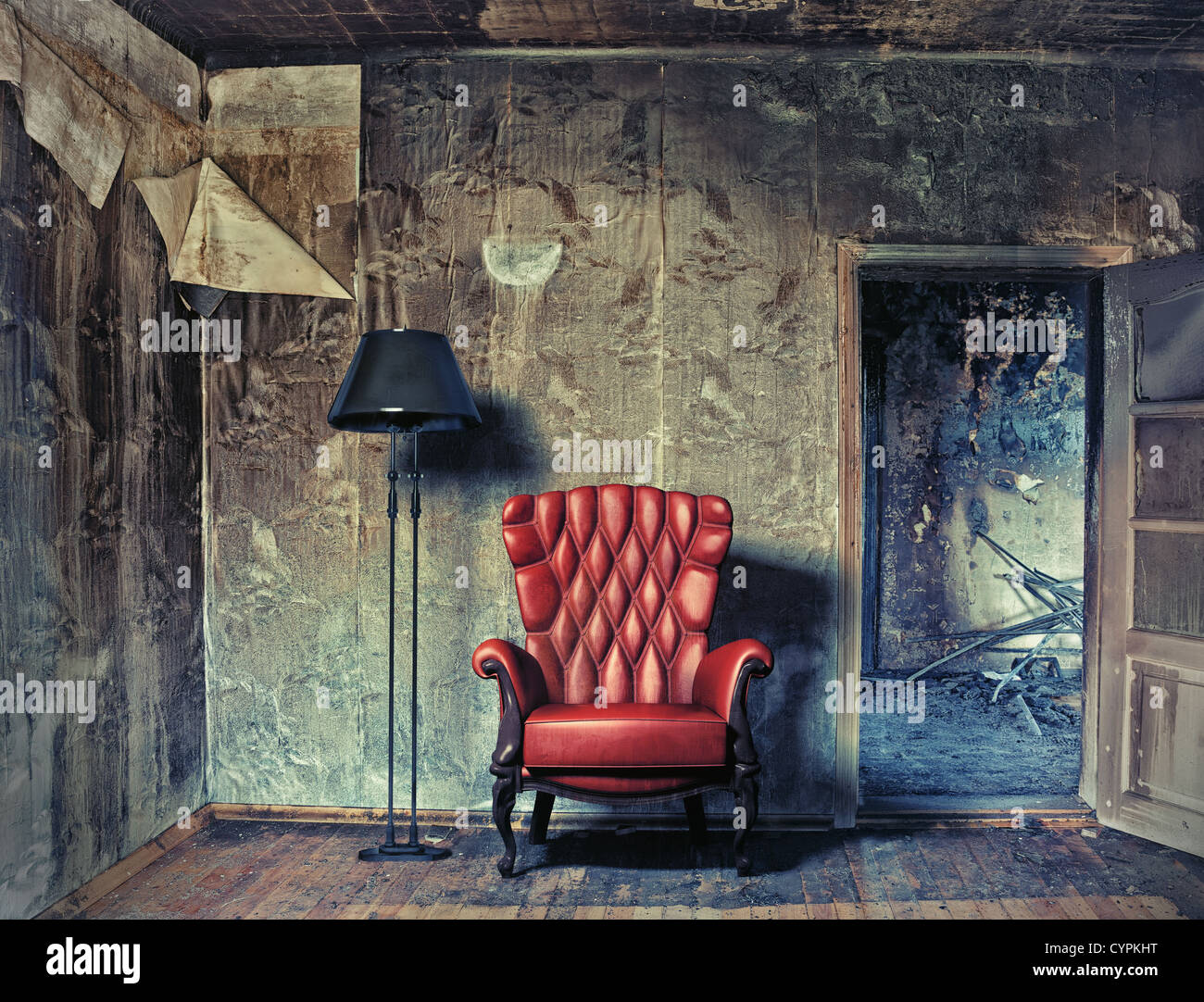 luxury armchair in grunge interior (Photo compilation. Photo and hand-drawing elements combined.) - Stock Image