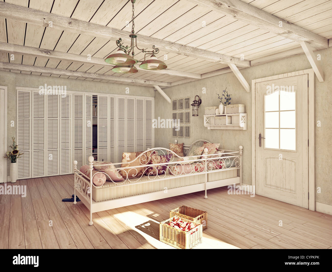 Provence style interior (3D rendering) - Stock Image