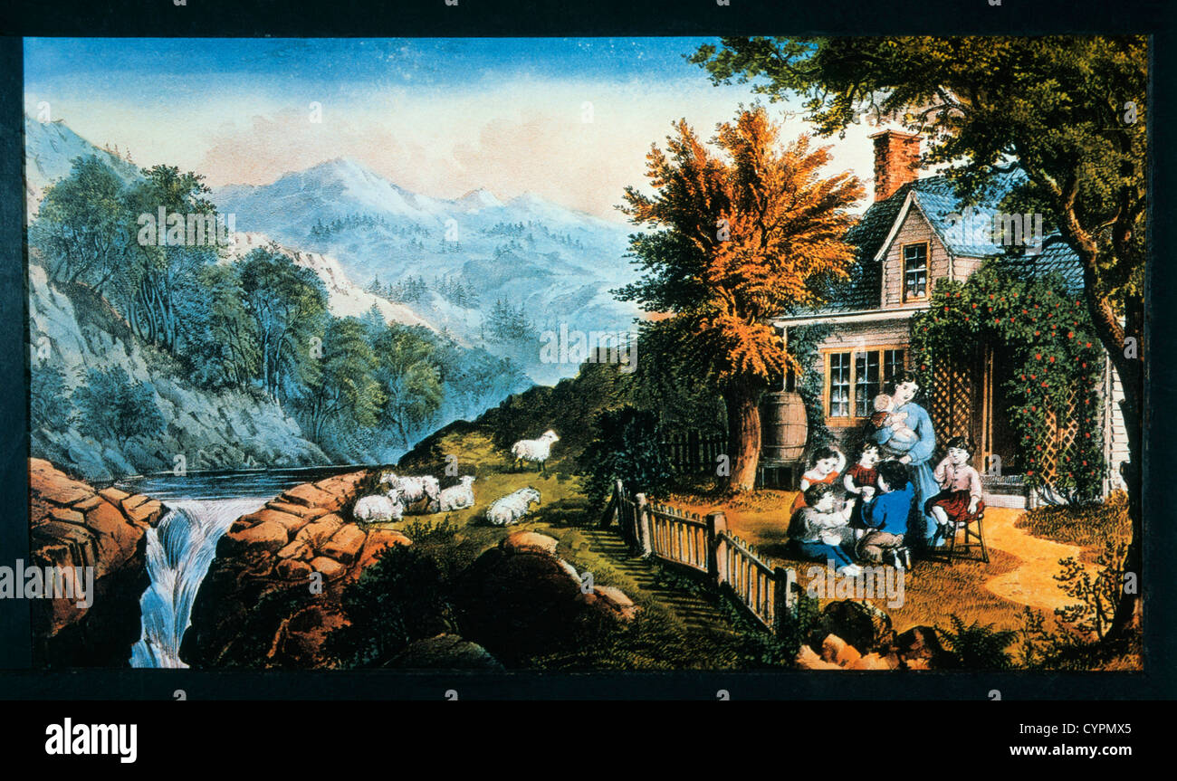 Mountaineer's Home, Currier & Ives, Lithograph - Stock Image