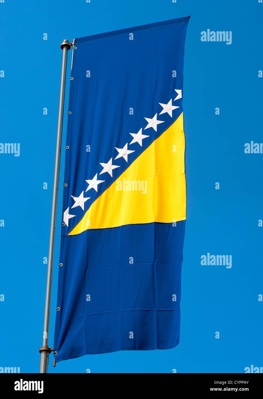 The flag of Bosnia and Herzegovina. - Stock Image