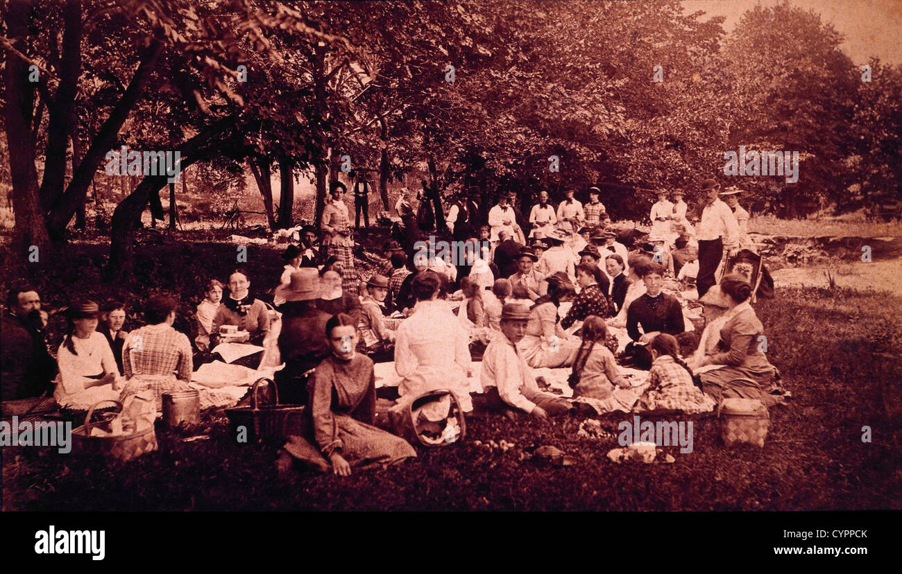 Picnic near Clinton, Iowa, USA , 1878 - Stock Image