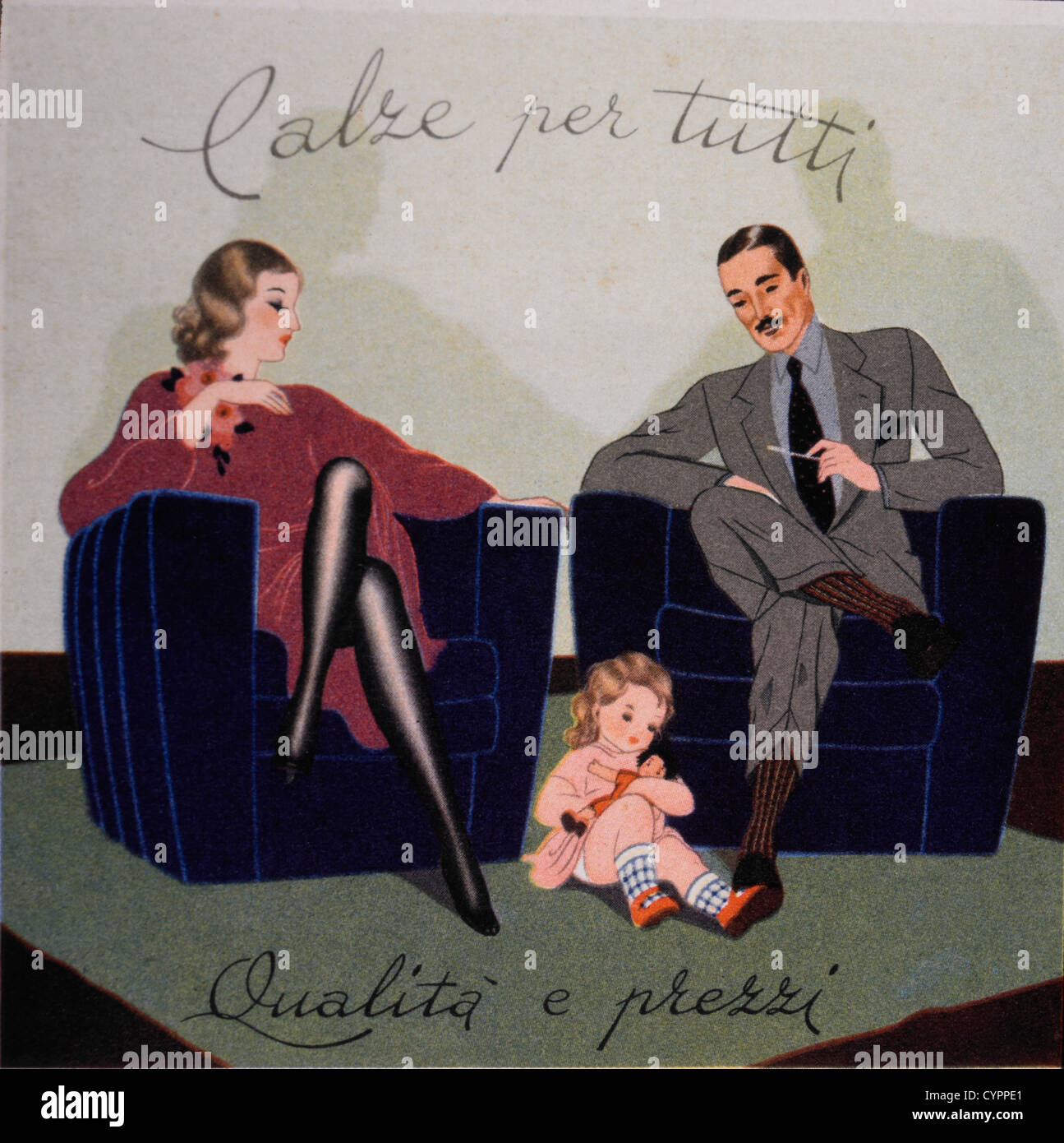 Couple With Child Portrait, Italian Clothing Advertisement, 1925 - Stock Image
