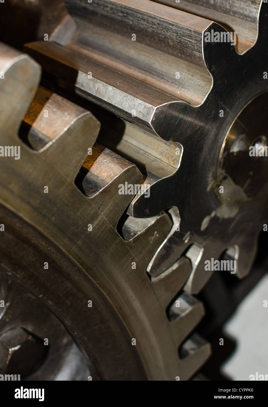 cooperation of two industrial ragwheels in detail - Stock Image