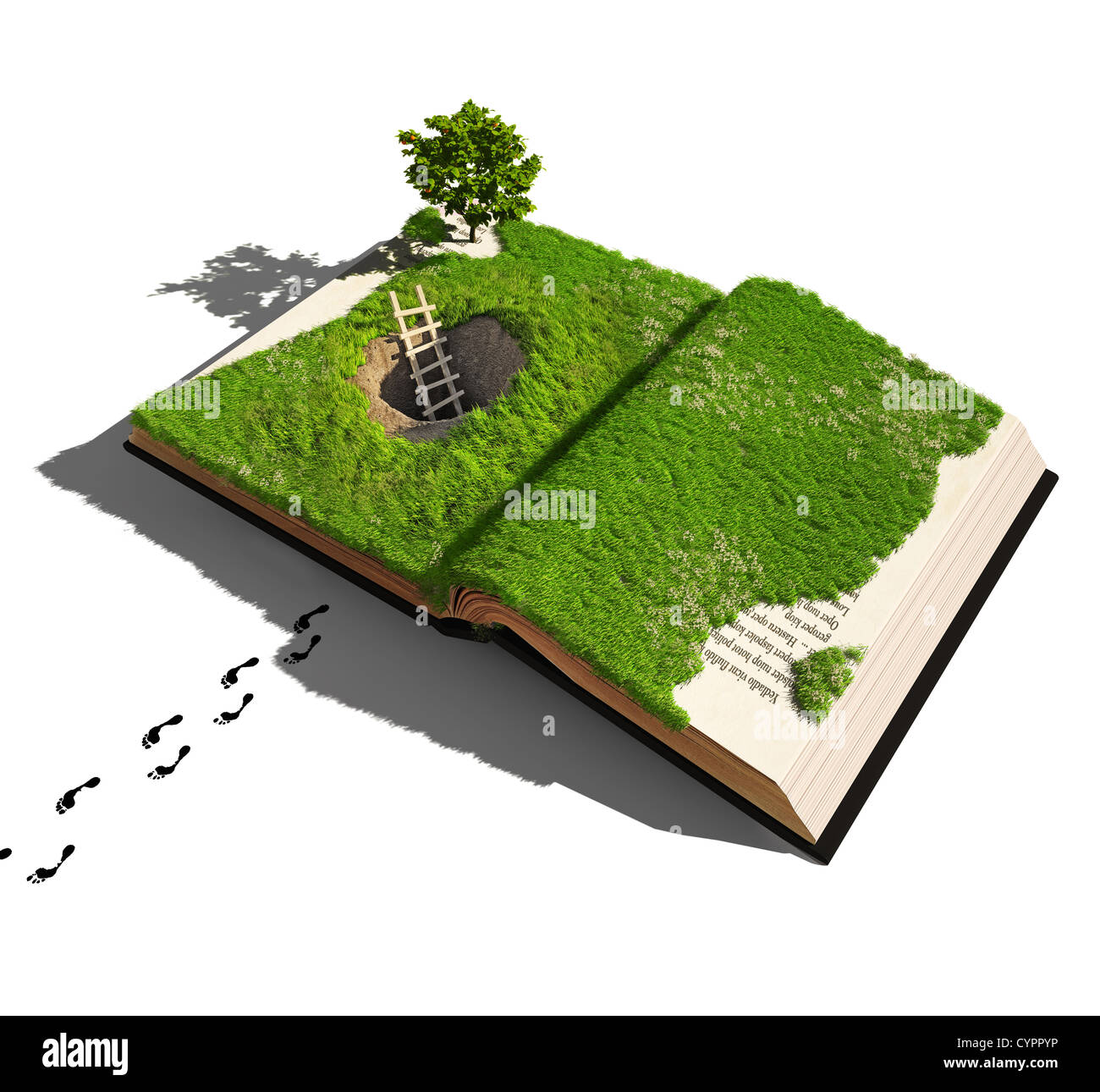 escape from a fairy tale (illustrated concept) - Stock Image