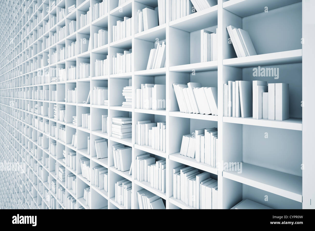endless white shelves (illustrated concept) - Stock Image
