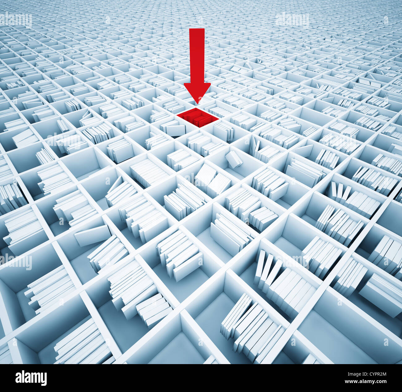 searching information in matrix of bookshelfs ( illustration concept) Stock Photo