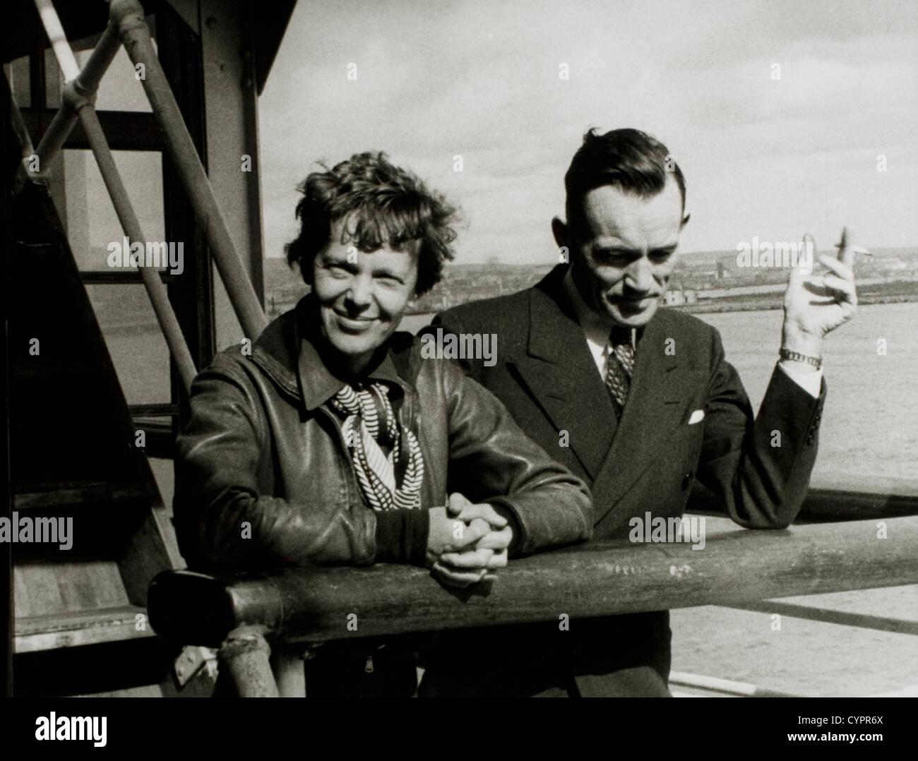 Amelia Earhart and Fred Noonan, Honolulu Airport, Hawaii, March 20, 1937 - Stock Image