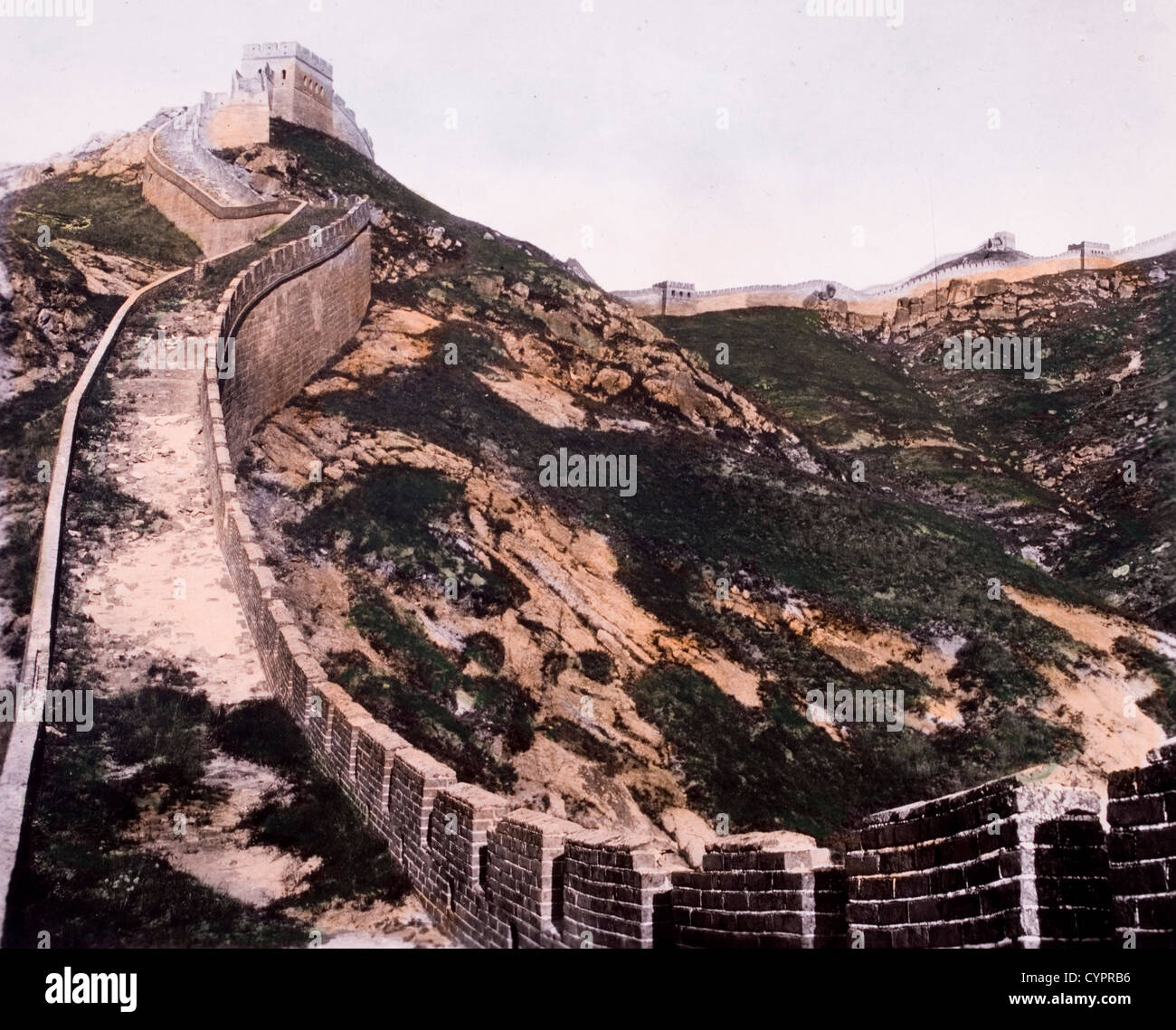 Great Wall of China, Hand-Colored Photograph, 1930 - Stock Image
