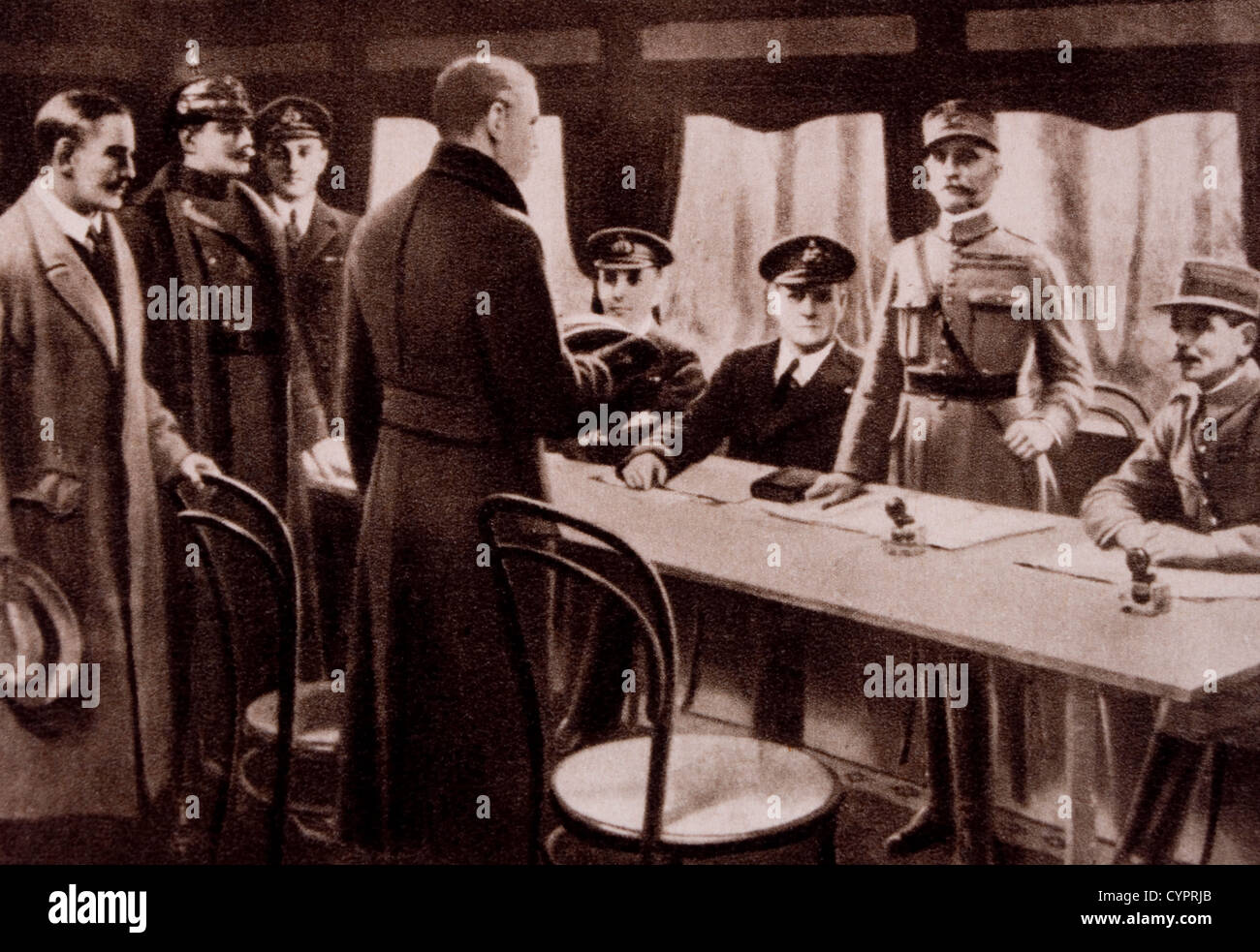 Armistice Signing Ceremony Between Germany and Allied Nations, Compiegne, France, November 11, 1918 - Stock Image