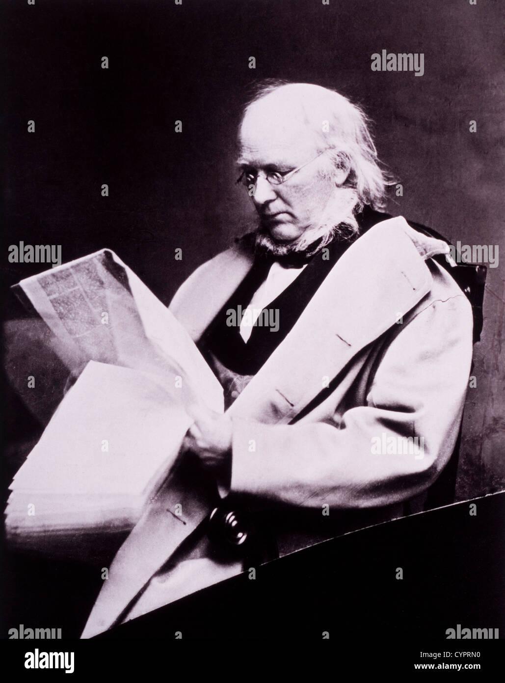 Horace Greeley (1811-1872), Reading Newspaper, Portrait by Mathew Brady, Circa 1865 - Stock Image