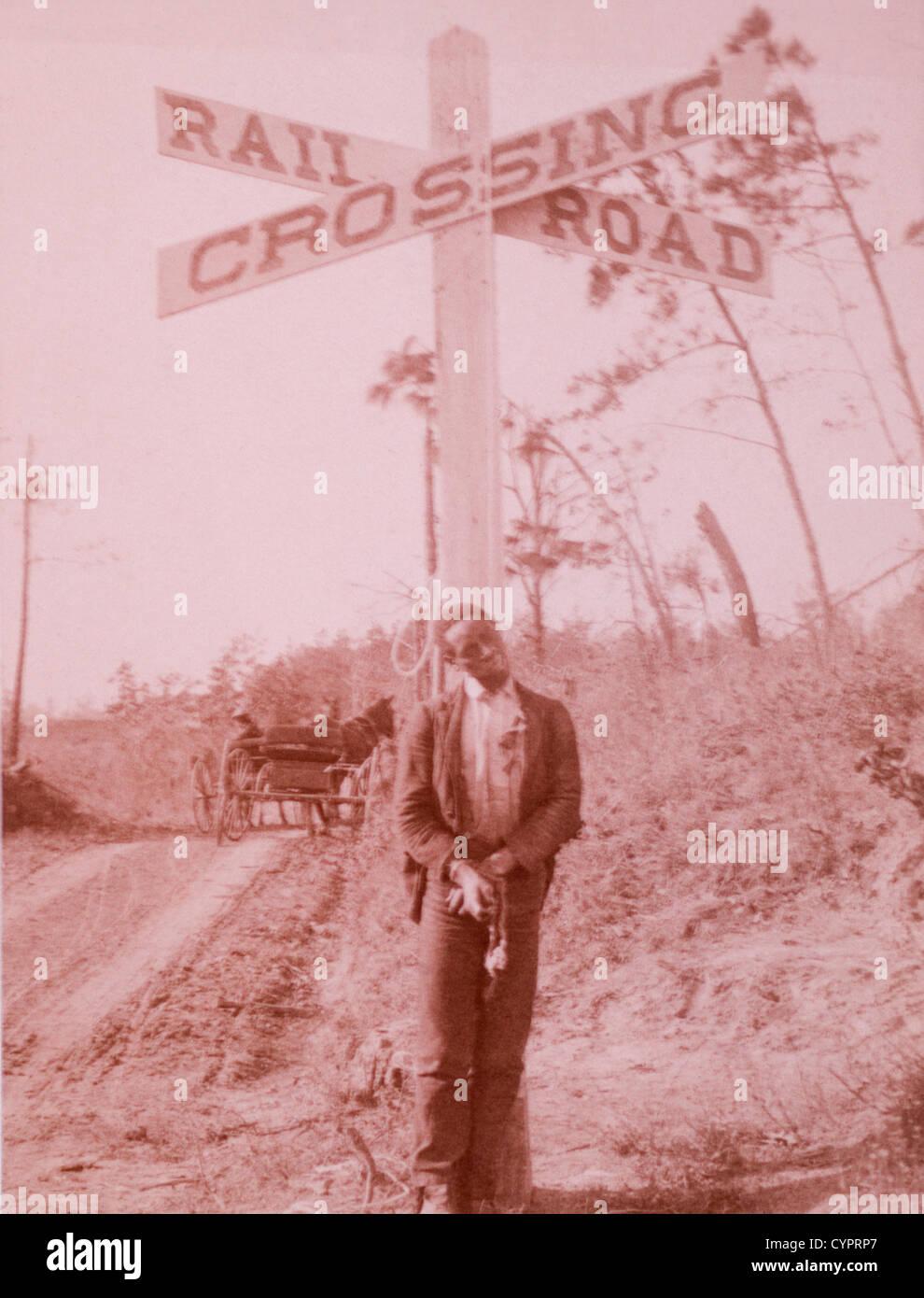 Man Lynched at Railroad Crossing, Orangeburg, South Carolina, USA, Albumen Photograph, 1897 - Stock Image