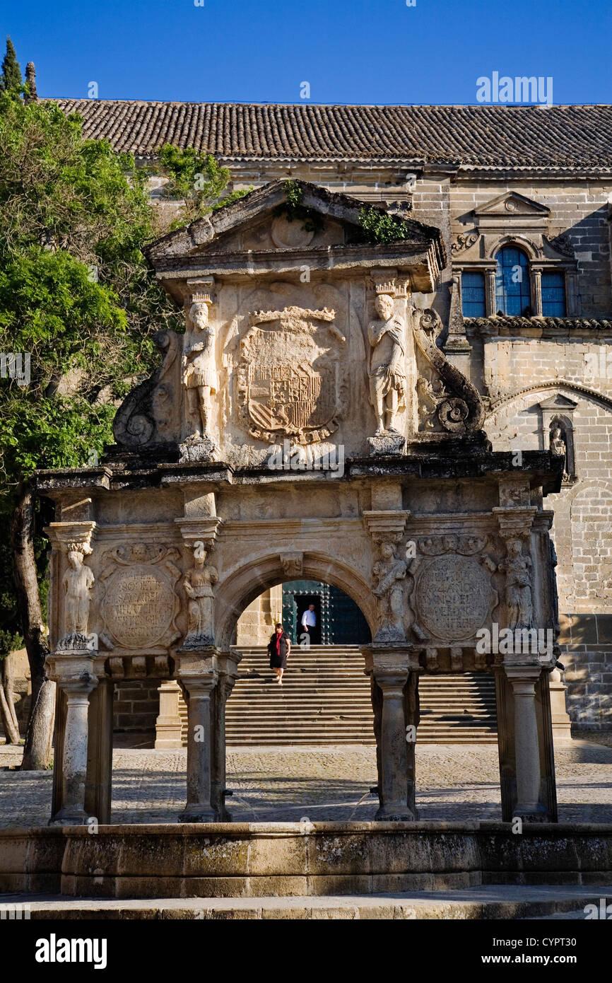 Santa Maria source Baeza world heritage jaen Andalusia Spain fuente de santa maria baeza patrimonio de la humanidad - Stock Image