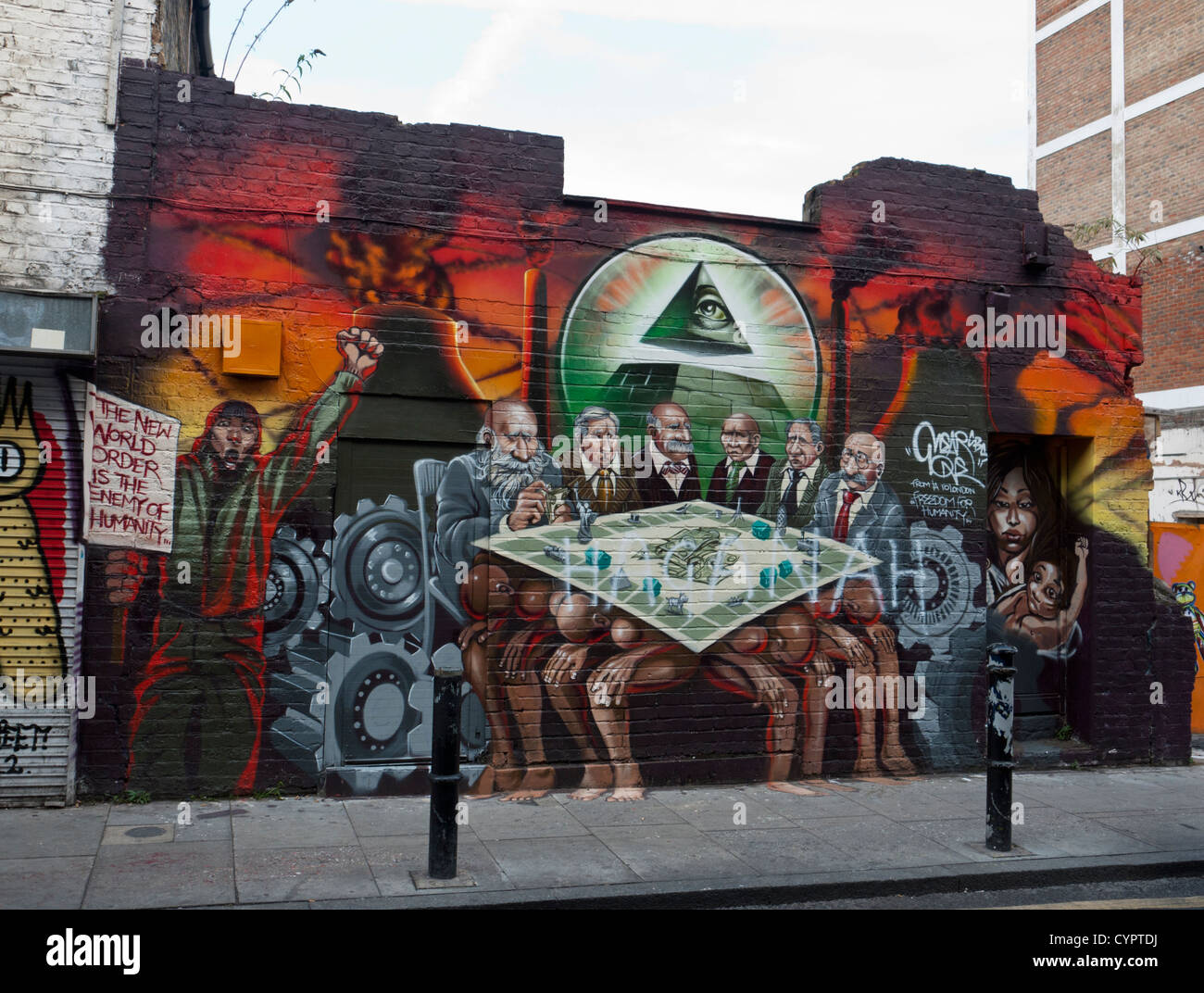 New World Order Mural By The Artist Mear One In Hanbury Street Off