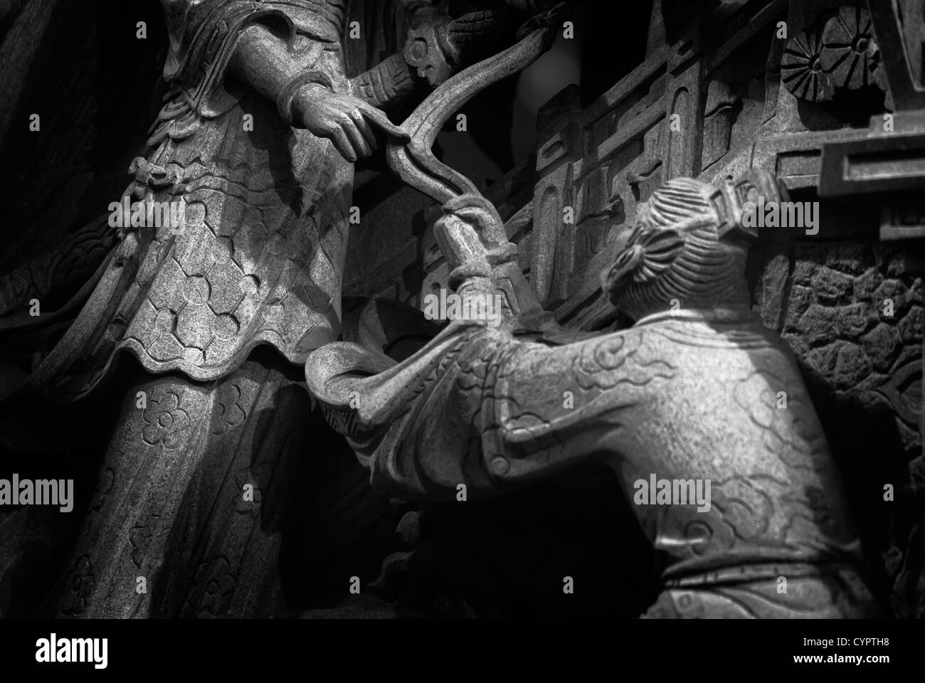 It is a stone carving of Taiwan. Maybe had one long story and fable. - Stock Image