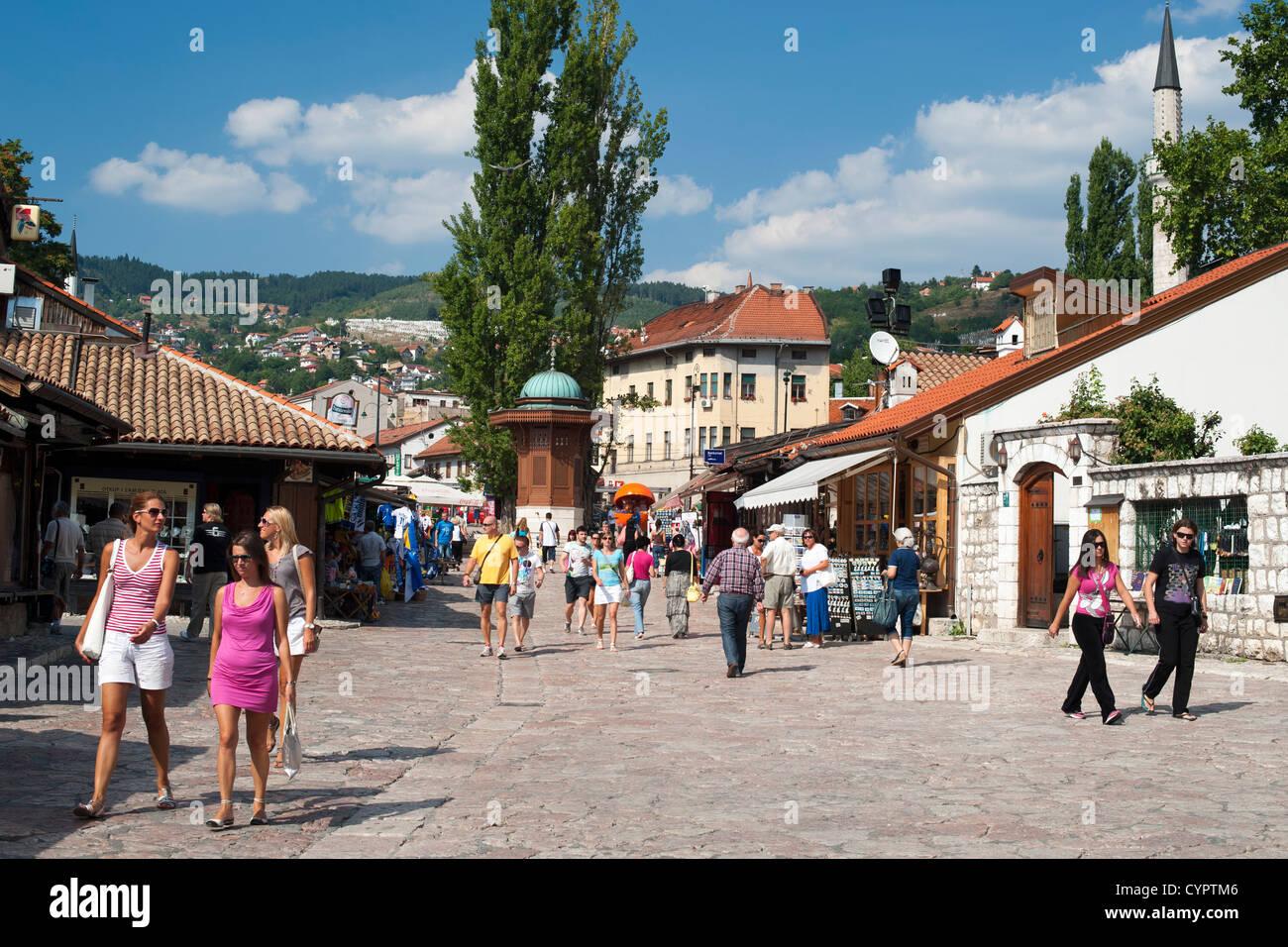 The Baščaršija (bazaar) in Sarajevo in Bosnia Herzegovina. - Stock Image