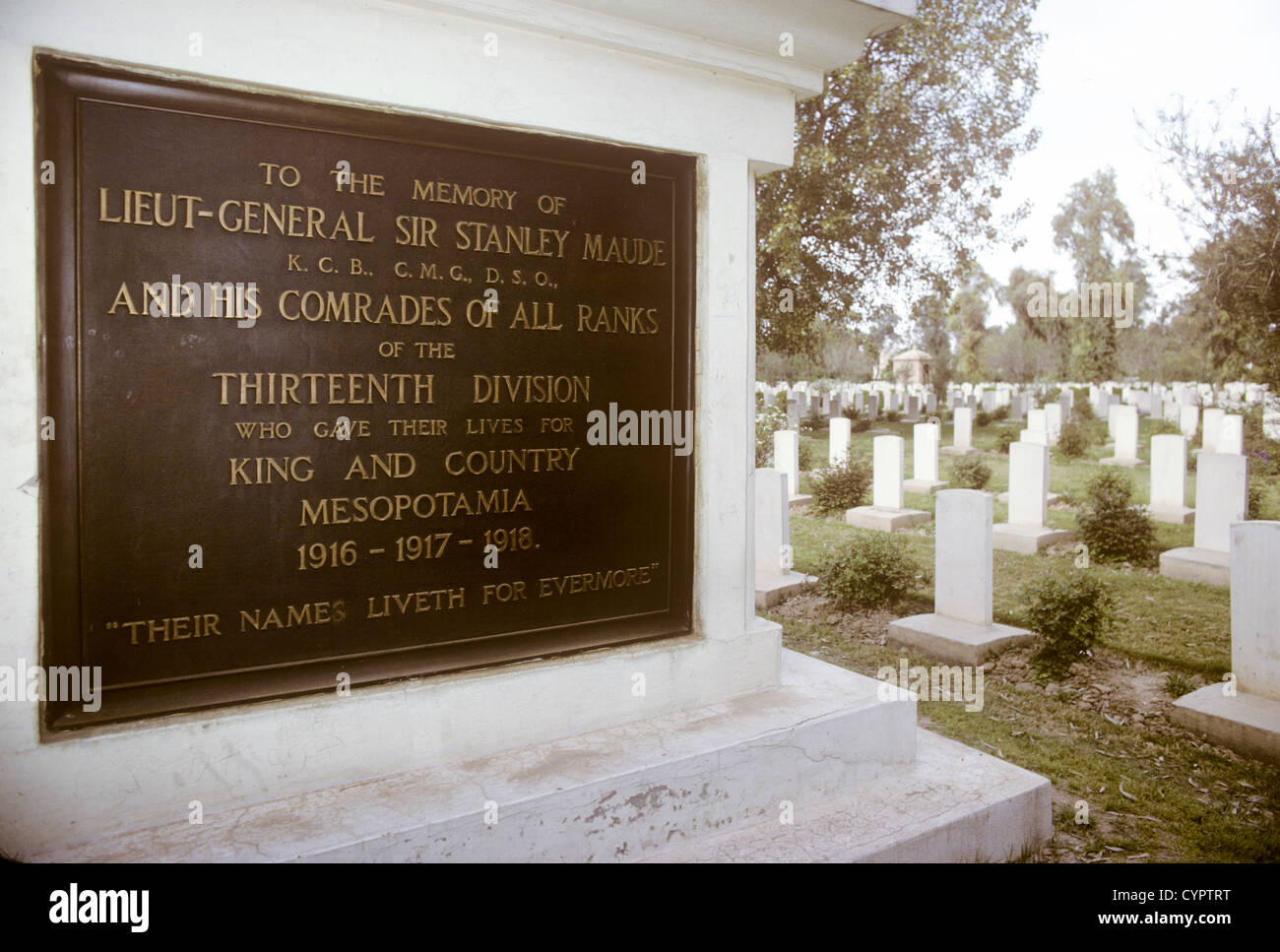 memorial to General Sir Stanley Maude who, died in First World War, in British cemetery in Baghdad IraqStock Photo