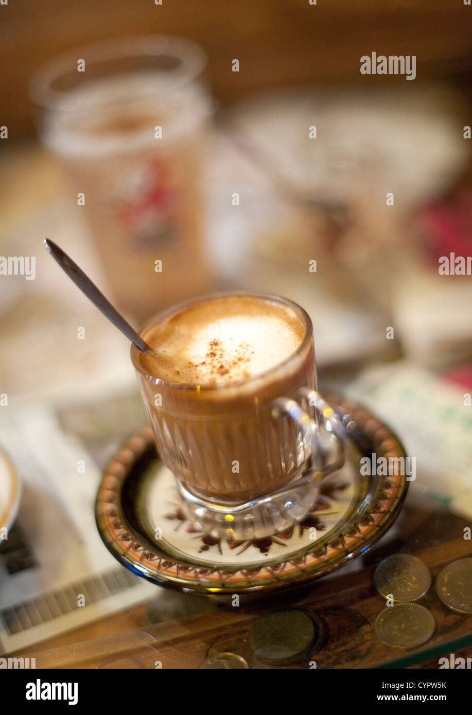 Coffee in the Zlatna Ribica (Gold Fish) bar and cafe in Sarajevo. - Stock Image