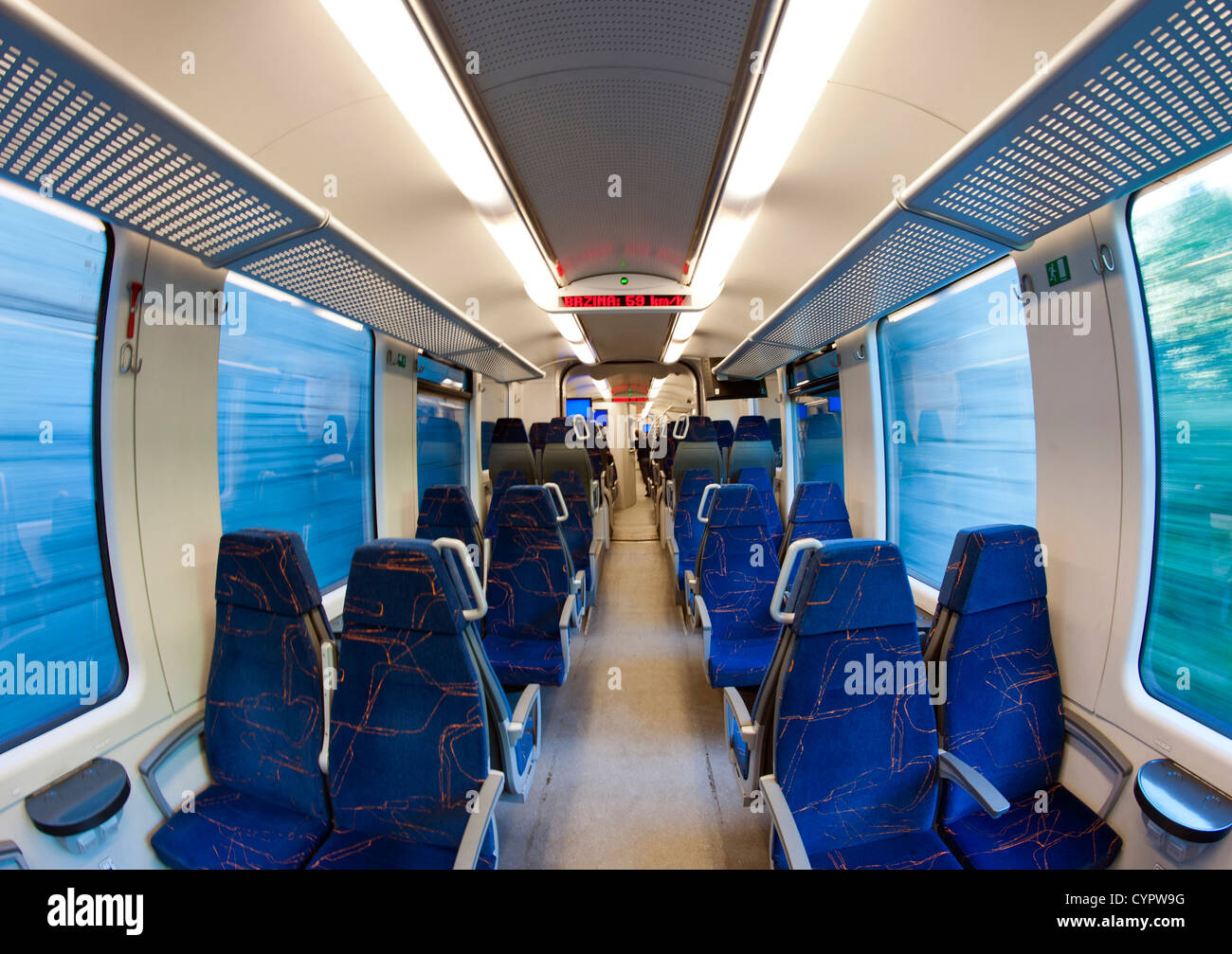 Interior of the brand new (as of 2012) train running between Sarajevo and Mostar. - Stock Image