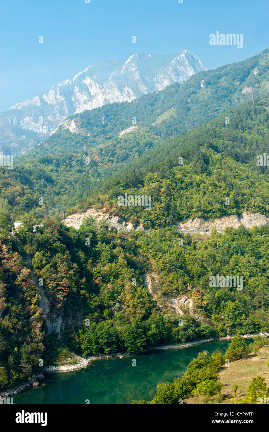 Countryside in Bosnia and Herzegovina as seen from the train running between Sarajevo and Mostar. - Stock Image