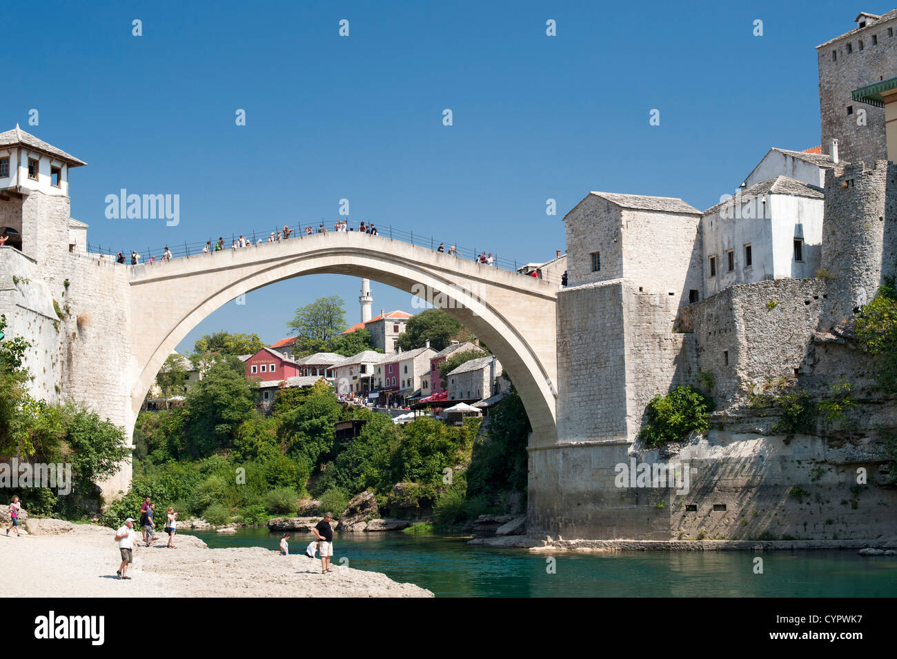 The Stari Most 'Old Bridge' and Neretva River in Mostar in Bosnia-Herzegovina. - Stock Image