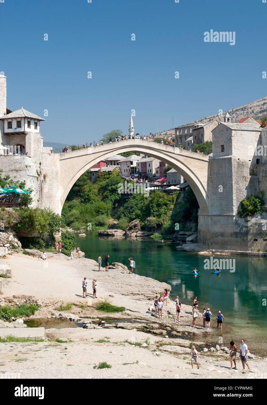 The Stari Most 'Old Bridge' and Neretva River in Mostar in Bosnia-Herzegovina. - Stock Image