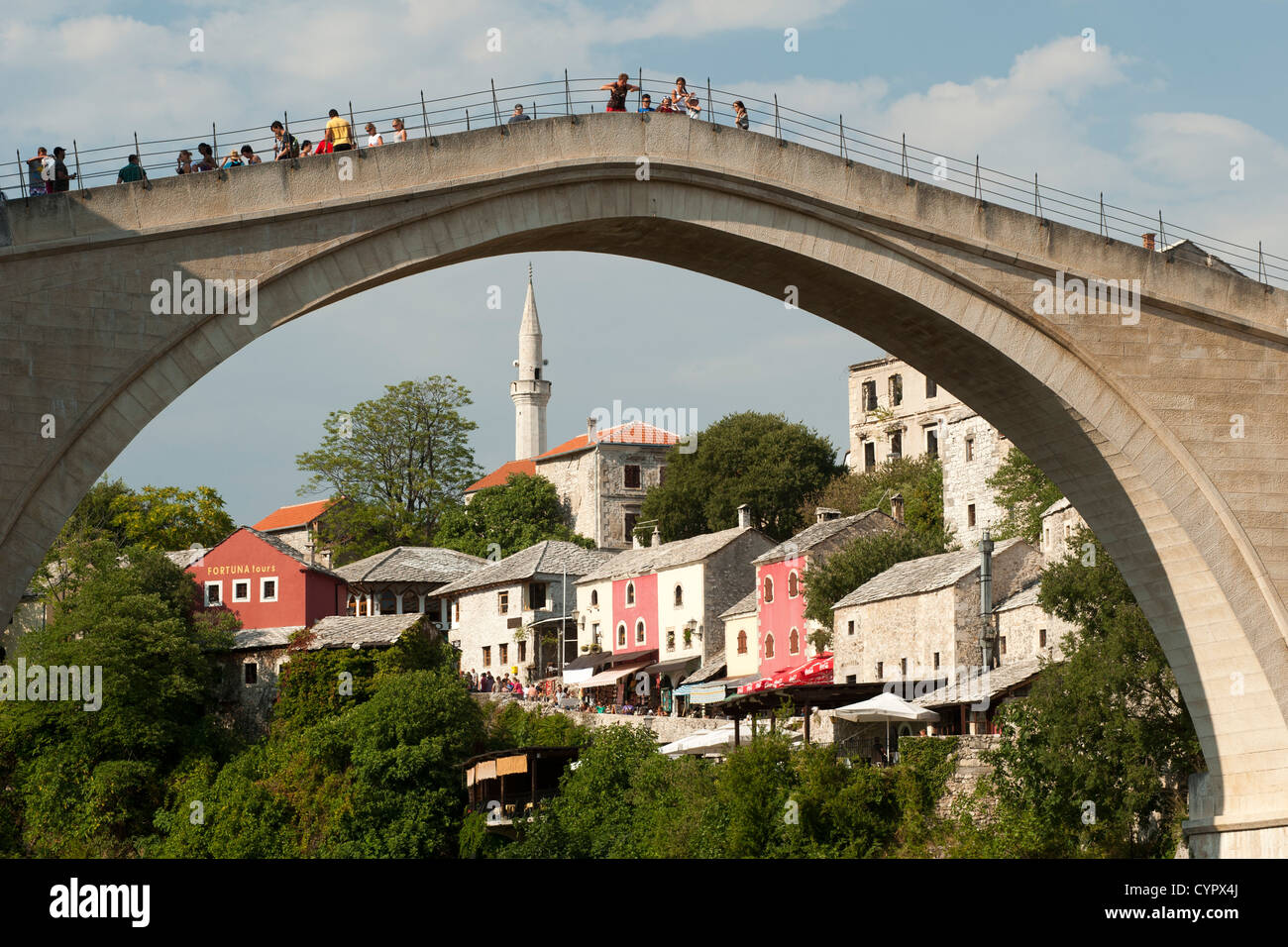 The Stari Most 'Old Bridge' in Mostar in Bosnia Herzegovina. - Stock Image
