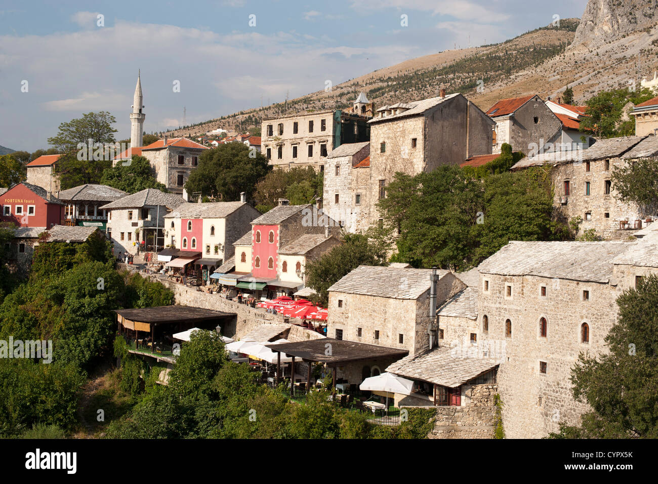 Buildings of the old town in Mostar in Bosnia and Herzegovina. - Stock Image
