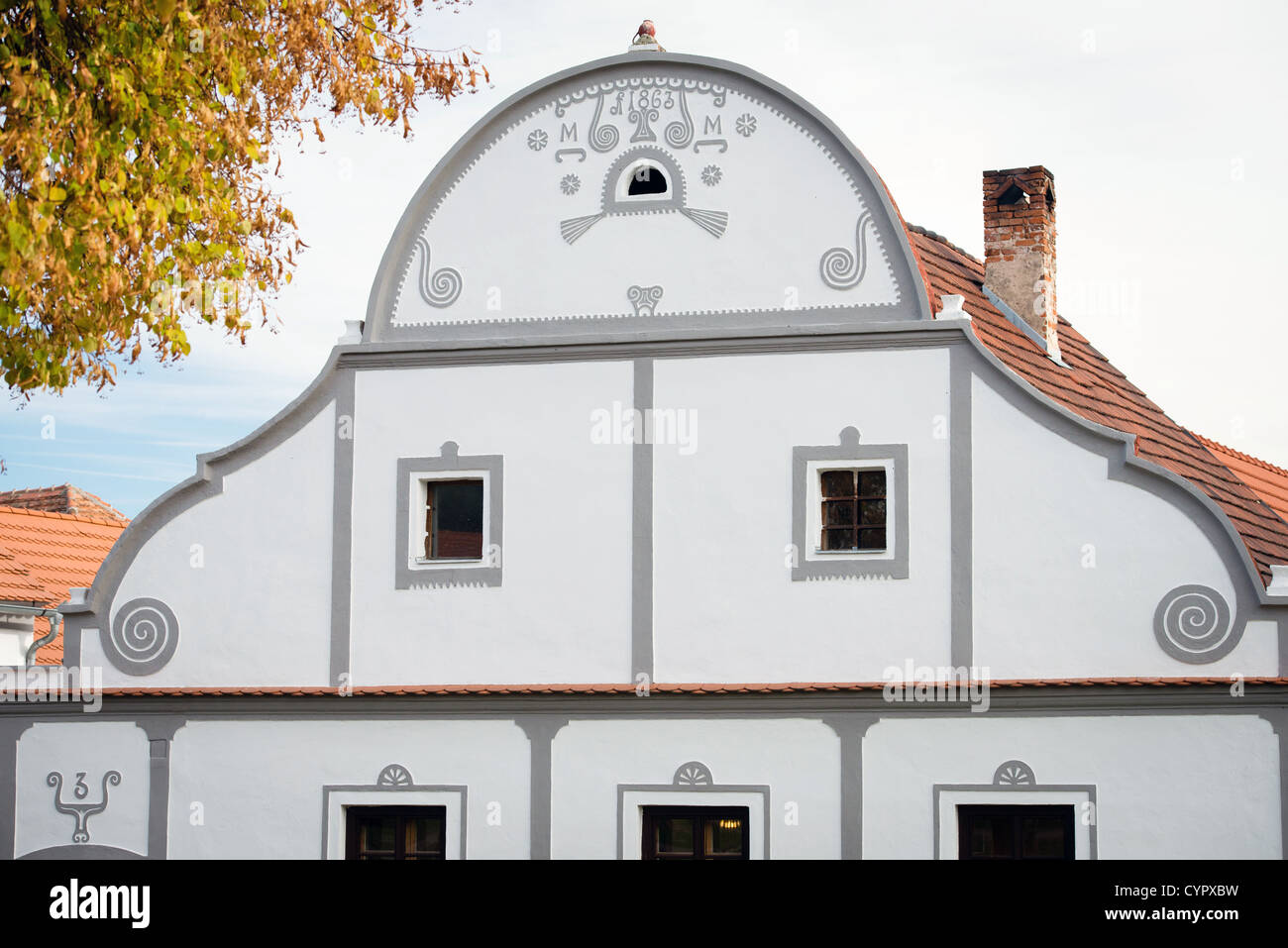 Holasovice - facade of decorated house, UNESCO world heritage site, South Bohemia, Czech Republic Stock Photo