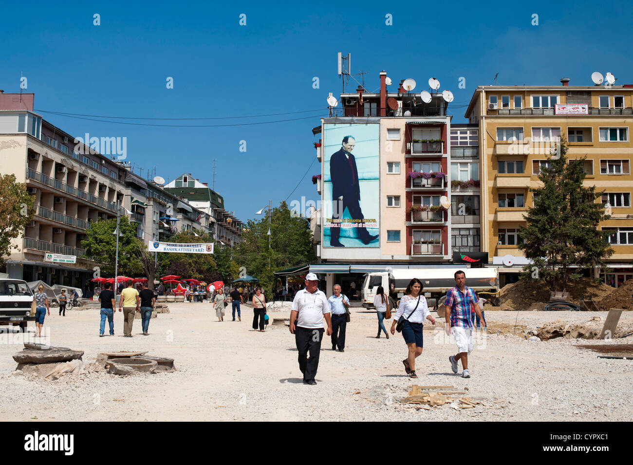 Reconstruction work in downtown Pristina, the capital of the Republic of Kosovo. - Stock Image