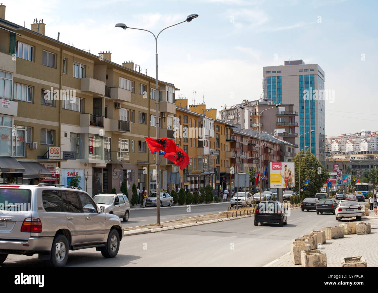 Garibaldi street in Pristina, the capital of the Republic of Kosovo. - Stock Image