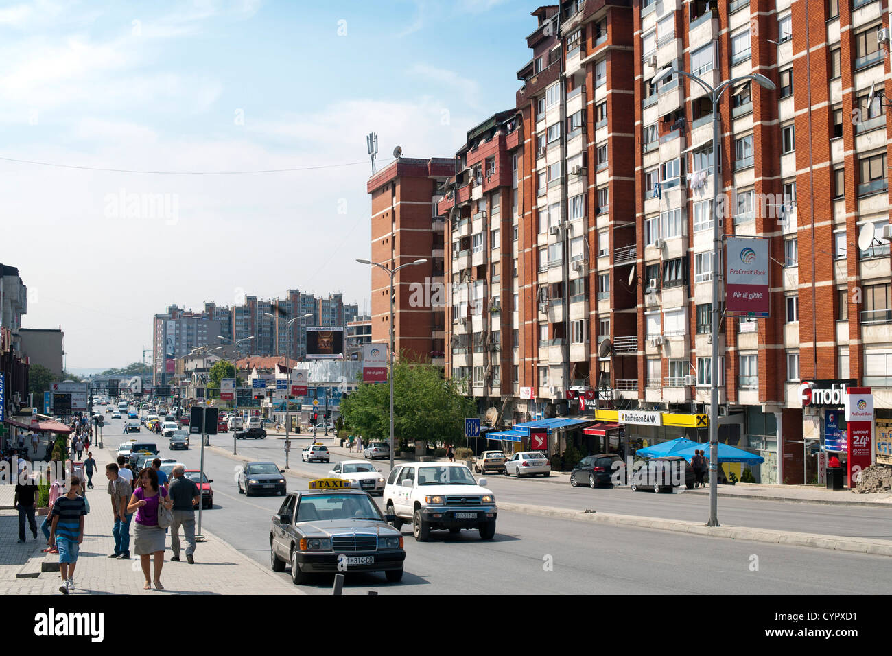 Bill Clinton Boulevard in Pristina, the capital of the Republic of Kosovo. - Stock Image