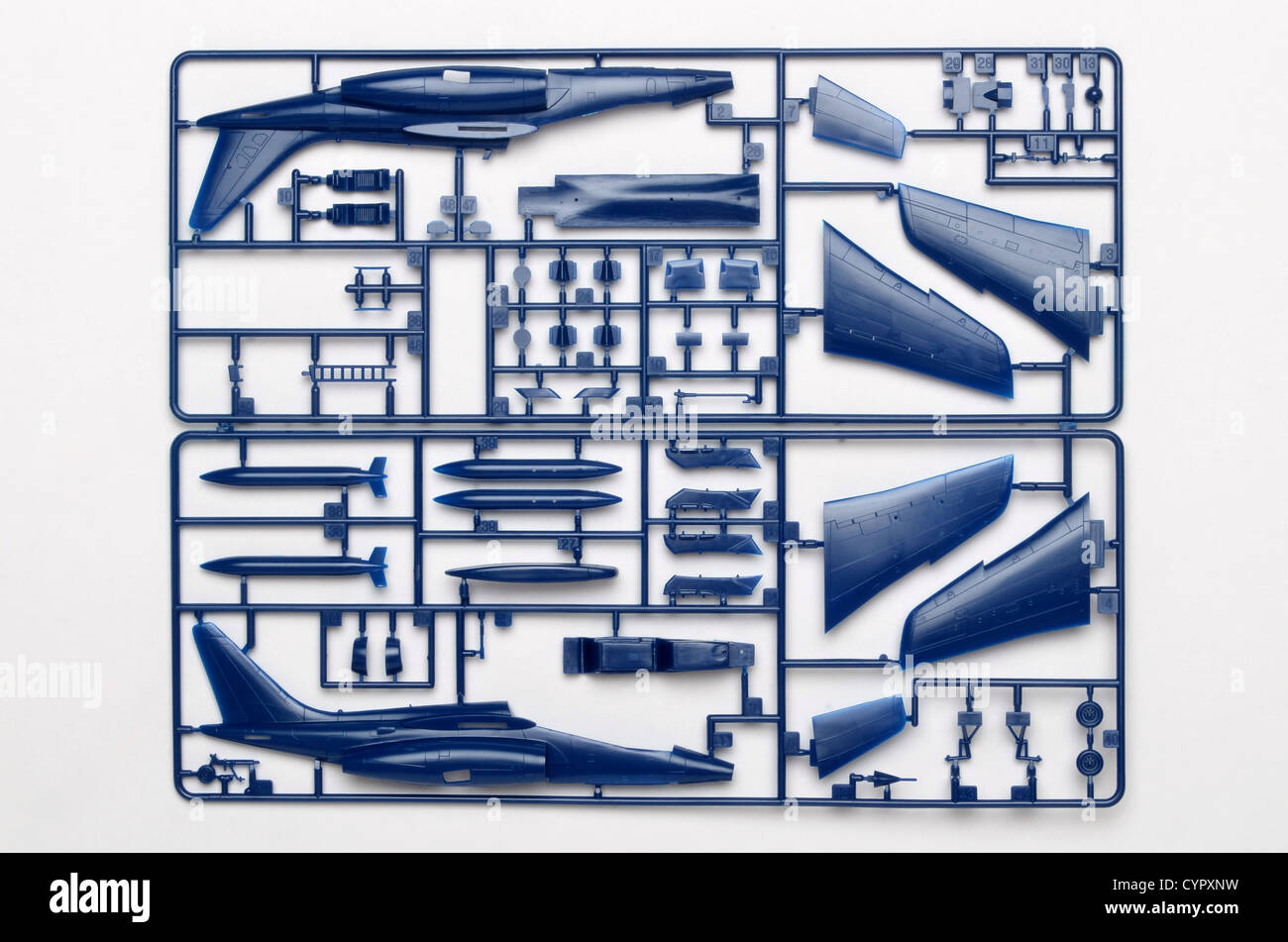 Fujimi 1/72 scale Alpha Jet injection moulded polystyrene plastic model aircraft construction kit parts on sprues - Stock Image