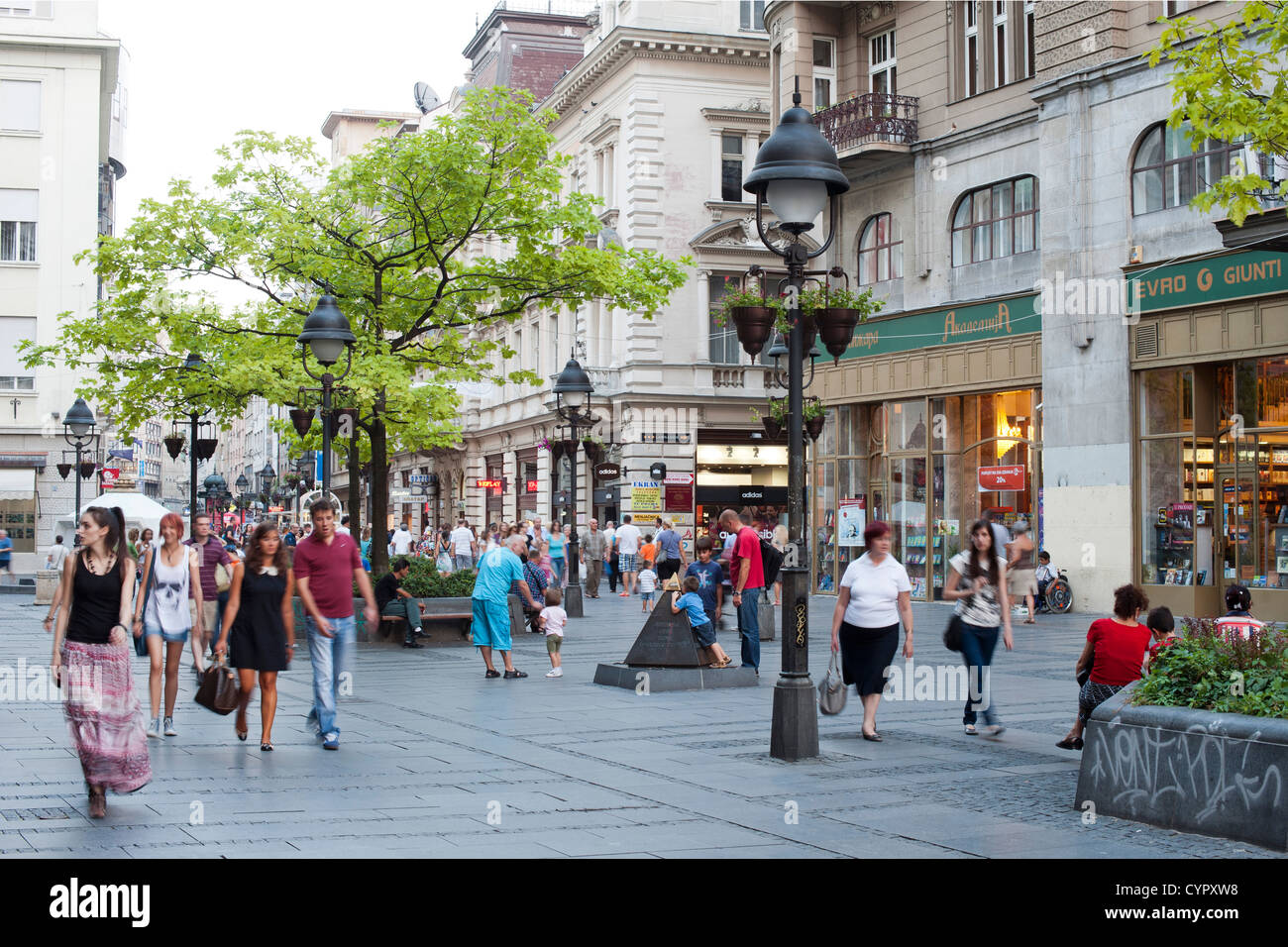 Pedestrians walking along Kneza Mihaila street in Belgrade, the capital of Serbia. - Stock Image