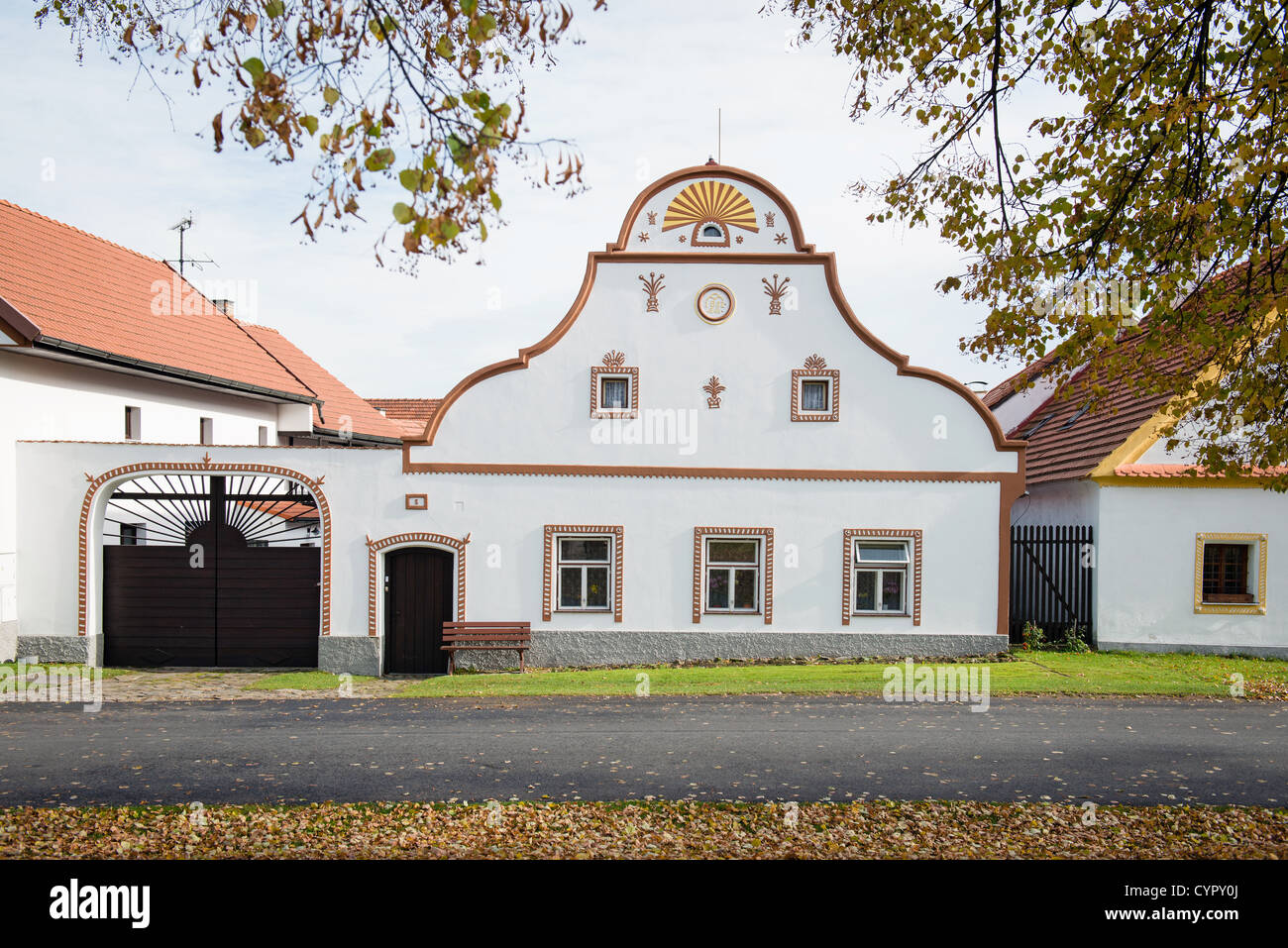 Holasovice - facade of historical house in Telc, UNESCO world heritage site, South Bohemia, Czech Republic - Stock Image
