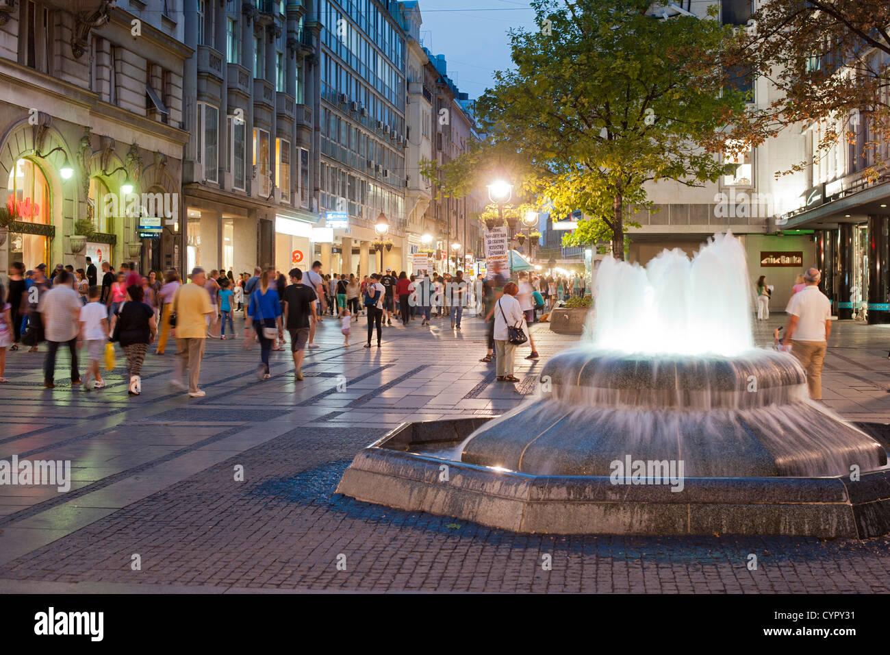 Fountain on Kneza Mihaila street in Belgrade, the capital of Serbia. - Stock Image