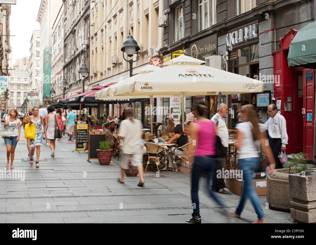 Pedestrians on Cika Ljubina Street in Belgrade, the capital of Serbia. - Stock Image