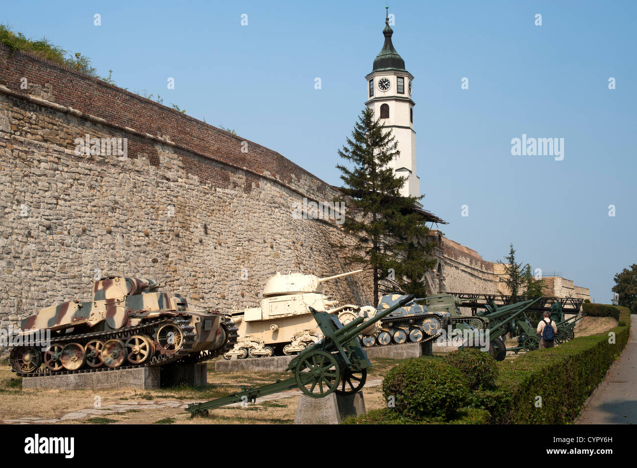 Tanks on display at the military museum in Kalemegdan castle in Belgrade, the capital of Serbia. - Stock Image