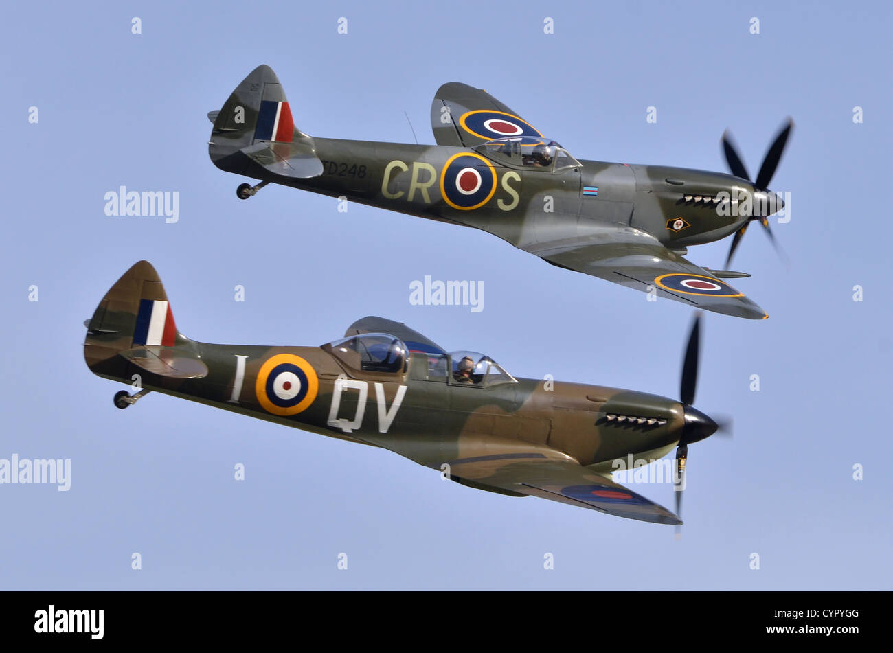 Spitfire T9C and Spitfire LF XIVe aircraft duo in RAF 1940s colours displaying at Duxford Airshow 2012. - Stock Image