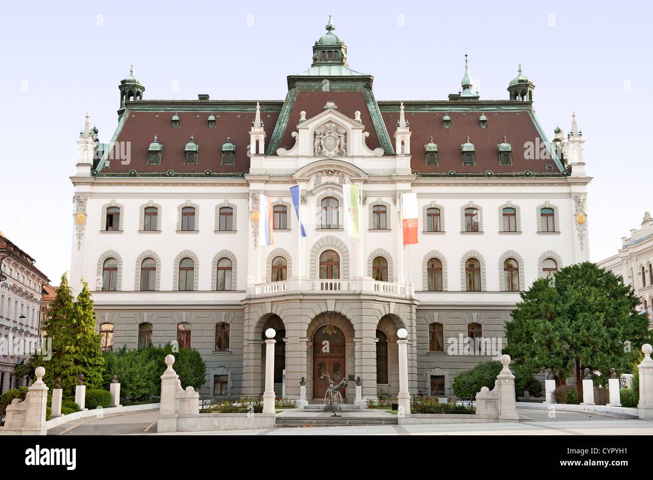 The main building of the University of Ljubljana in Slovenia. - Stock Image