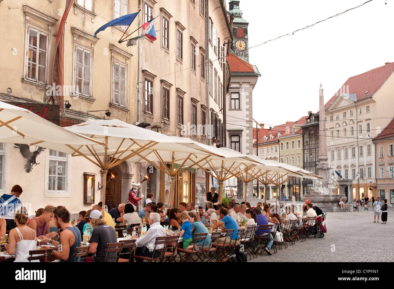 Sidewalk cafés in the old town in Ljubljana, the capital of Slovenia. Stock Photo