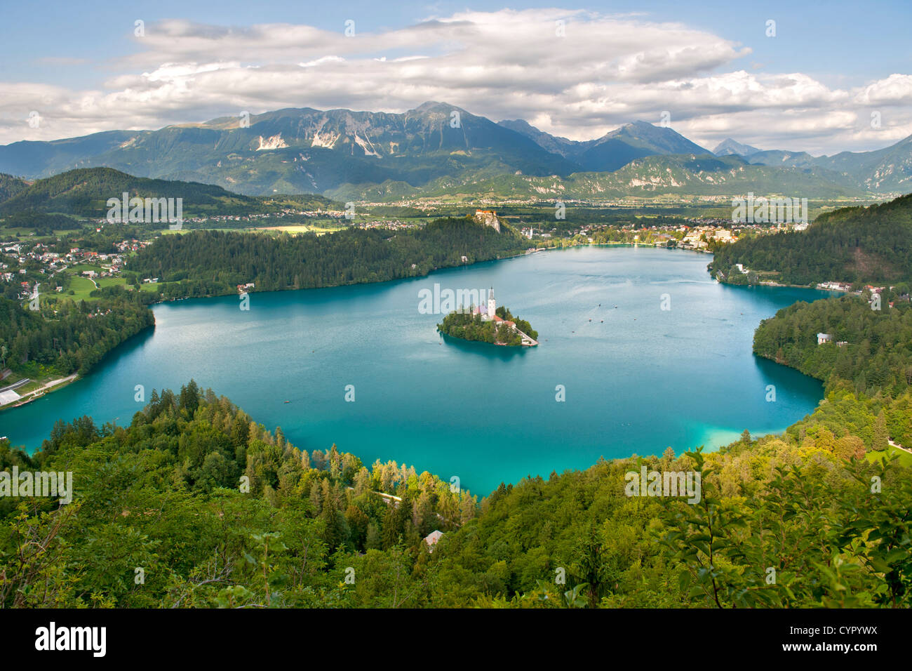 Lake Bled in the Julian Alps in northwest Slovenia. - Stock Image