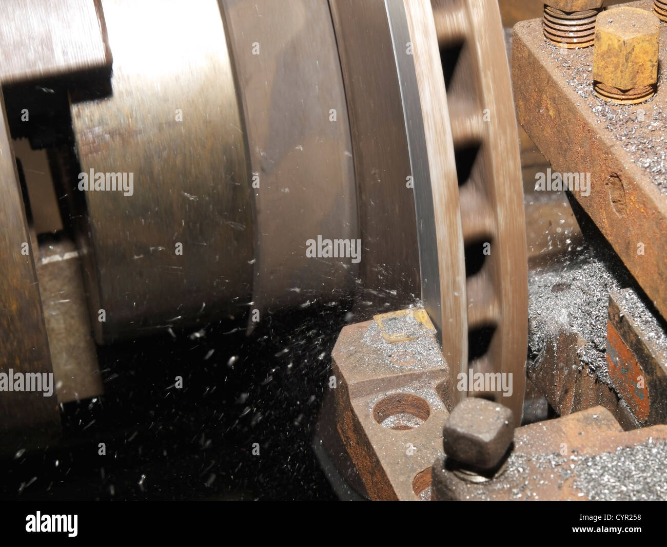 disc brake machining - Stock Image