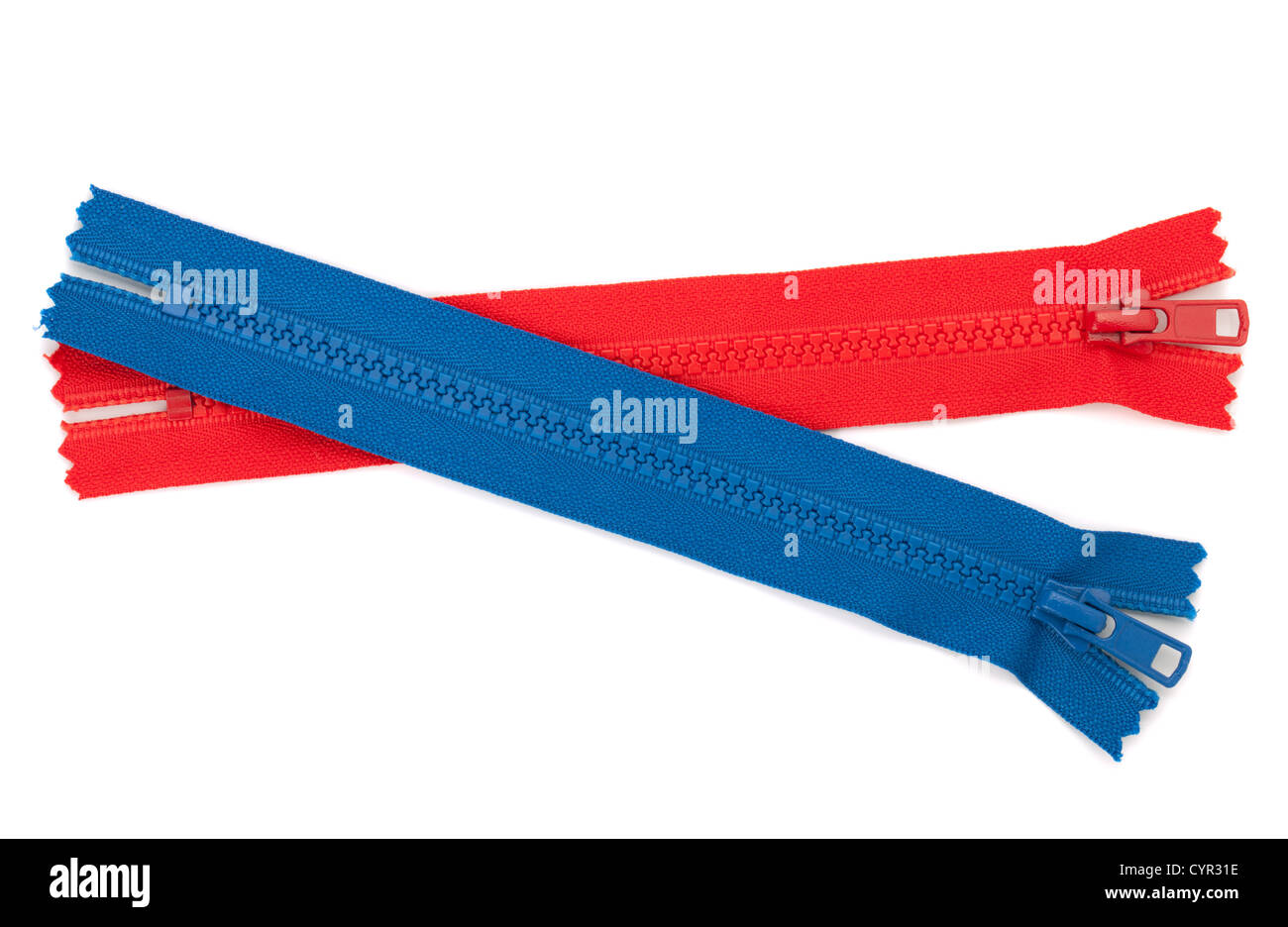 Blue and red zippers. Isolated on white background - Stock Image