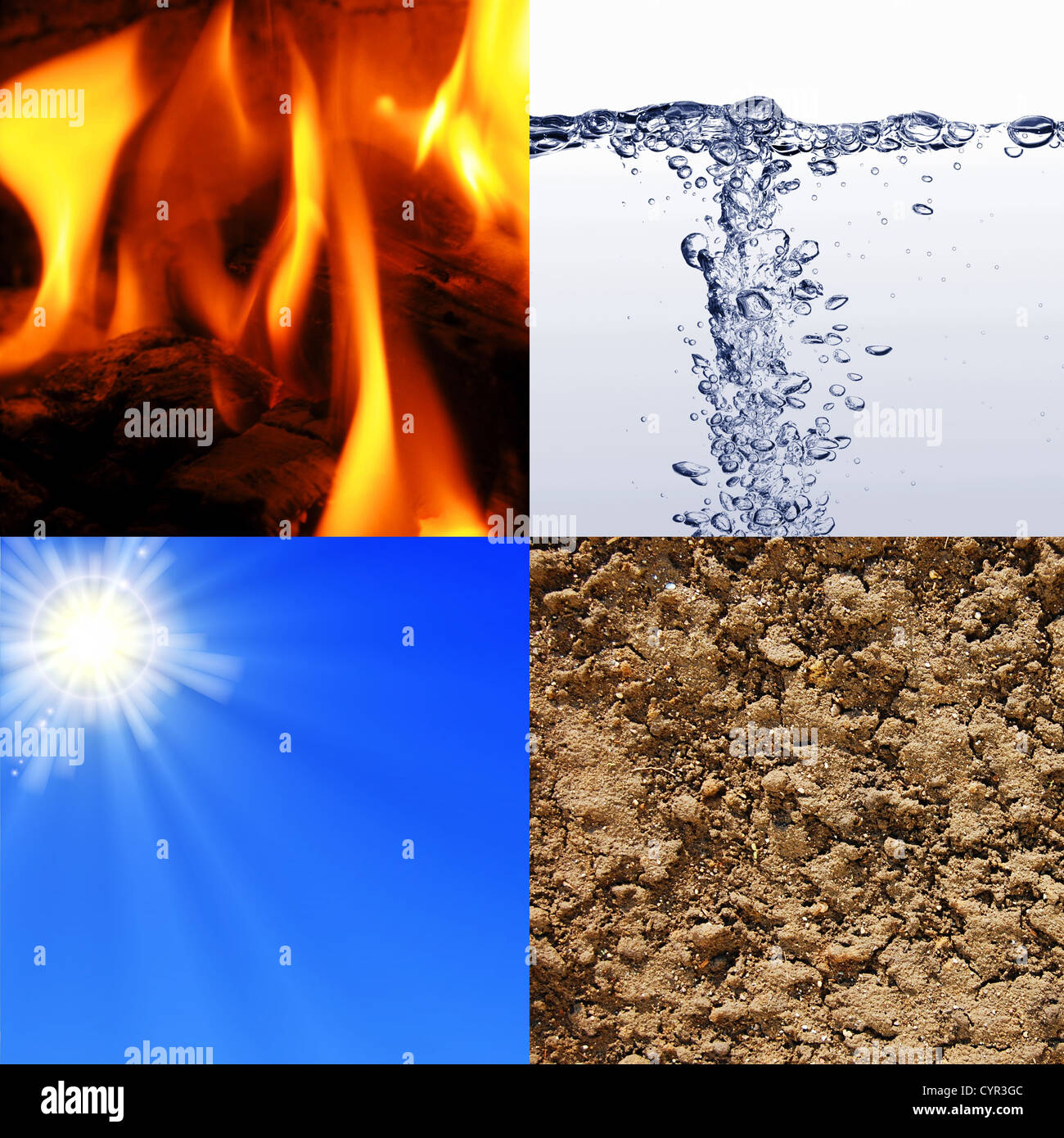 the four elements earth wind water and fire - Stock Image