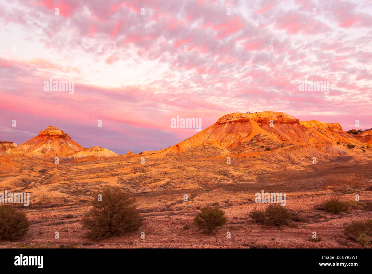 Painted Desert near Arckaringa Station in outback South Australia before sunrise. - Stock Image