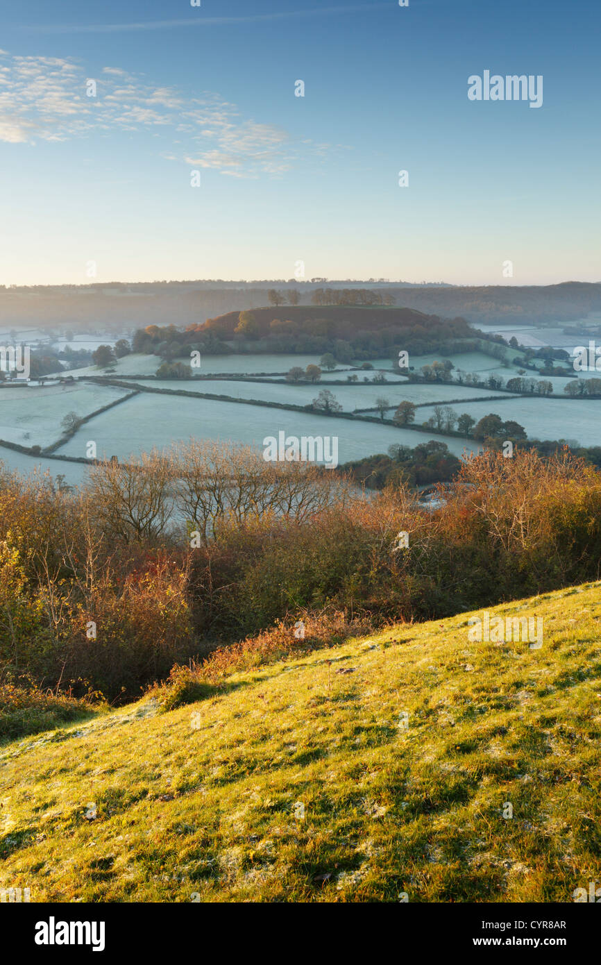 View from Cam Long Down towards Downham Hill. The Cotswolds. Gloucestershire. England. UK. - Stock Image